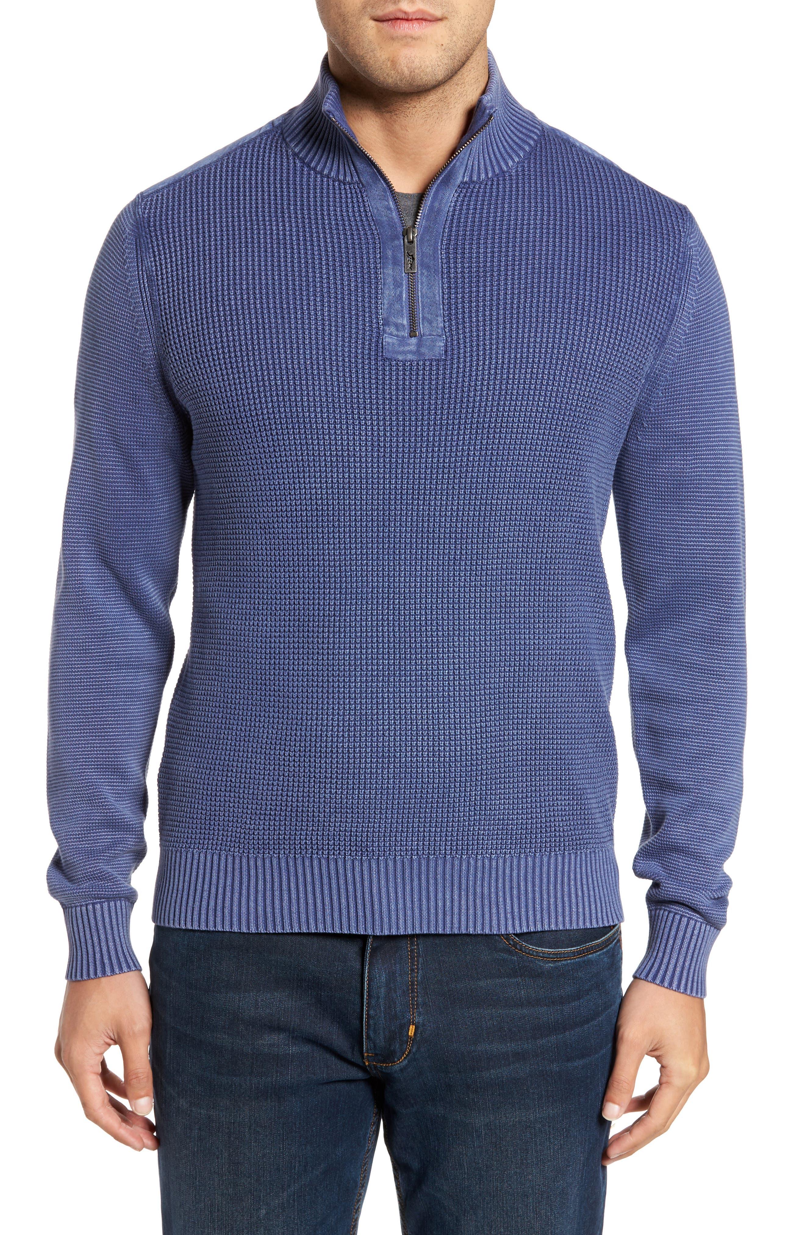 Coastal Shores Quarter Zip Sweater,                             Main thumbnail 1, color,                             Downpour