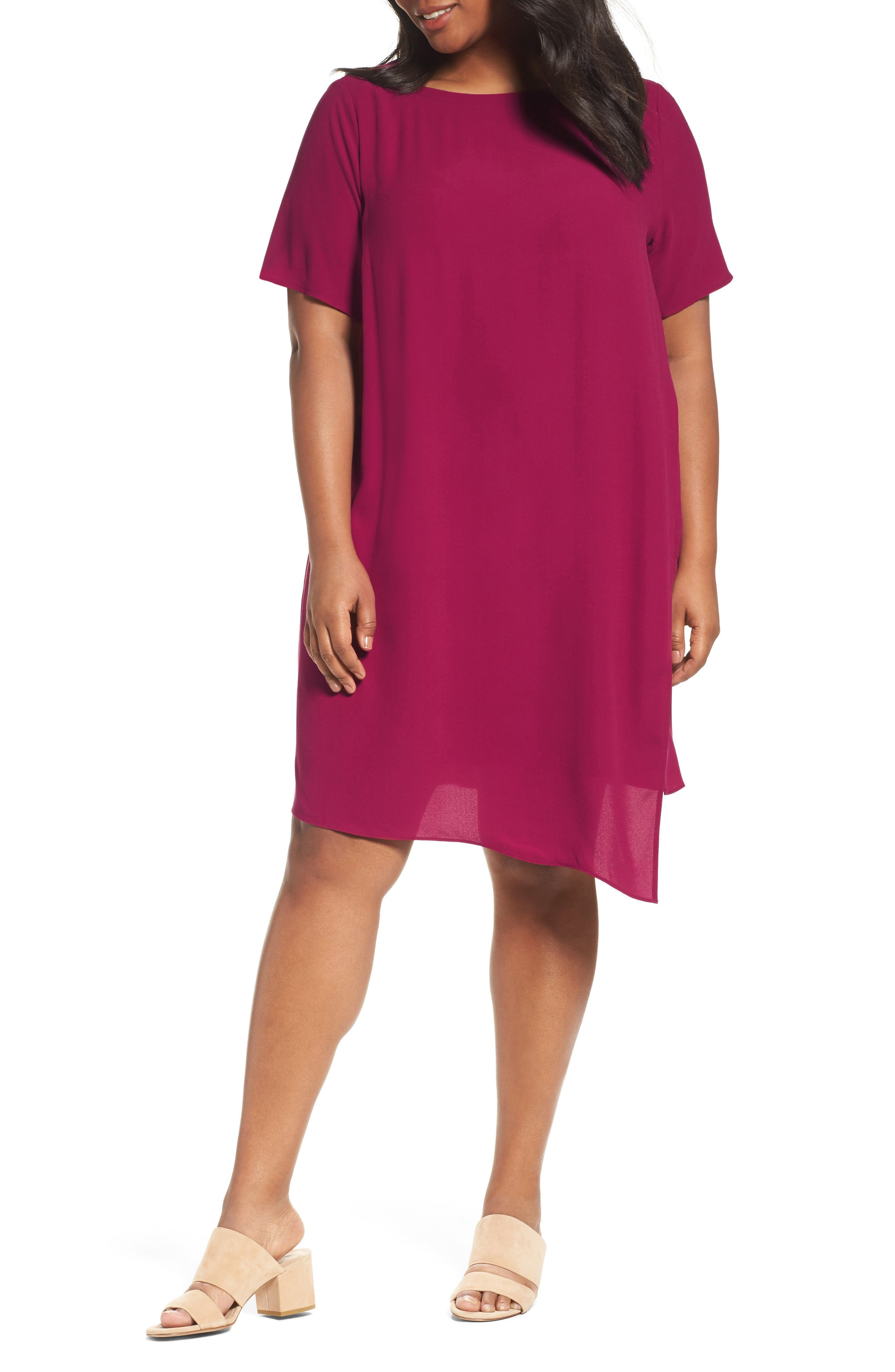 Asymmetrical Silk Shift Dress,                         Main,                         color, Hibiscus