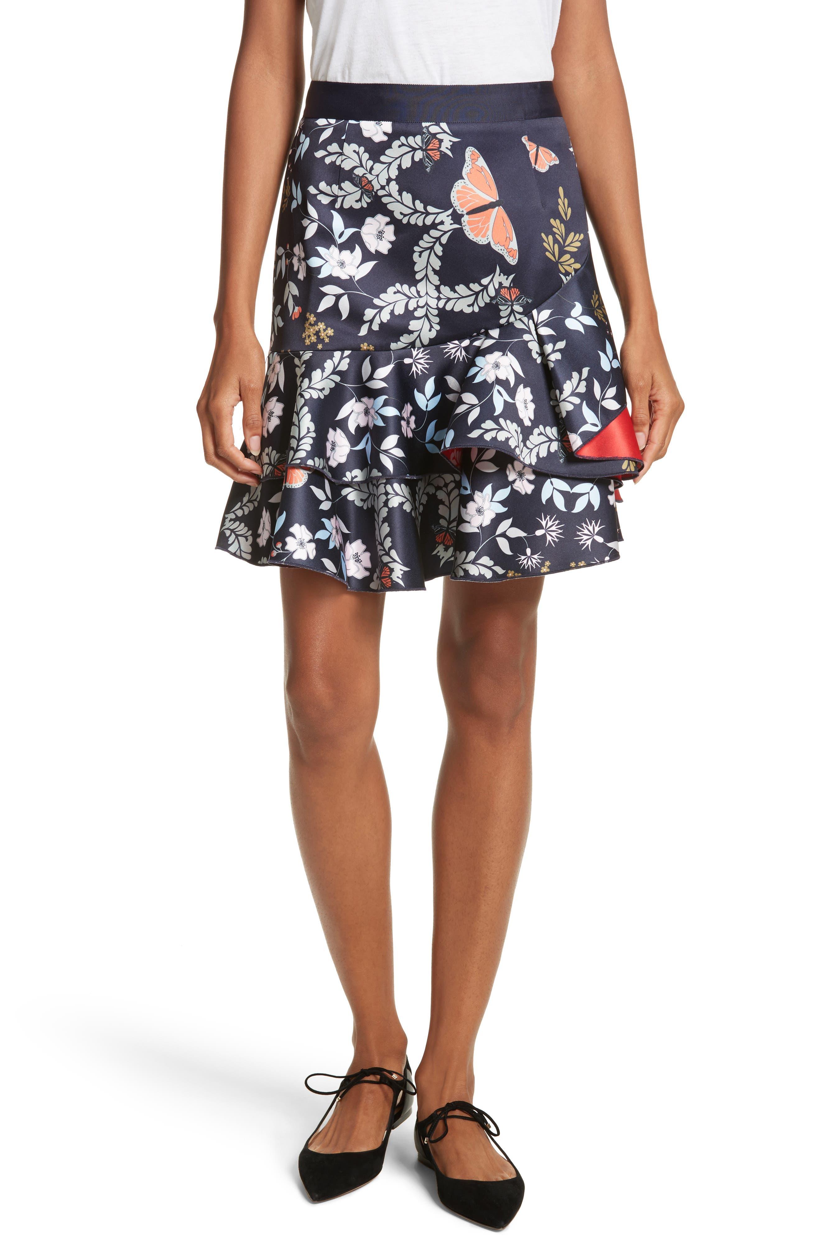 Janesa Kyoto Print Ruffle Skirt,                             Main thumbnail 1, color,                             Mid Blue