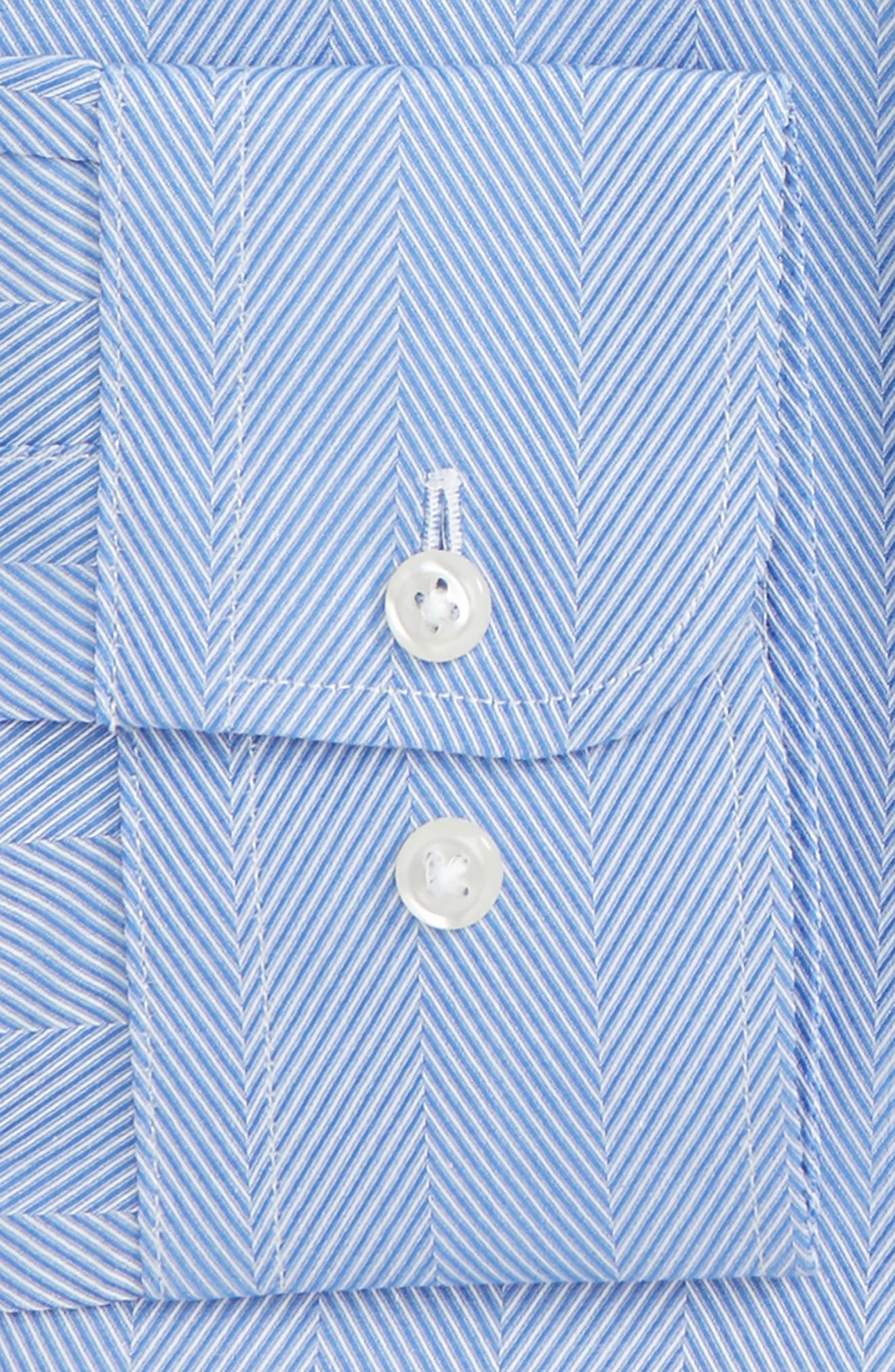 Traditional Fit Herringbone Dress Shirt,                             Alternate thumbnail 5, color,                             Blue Provence