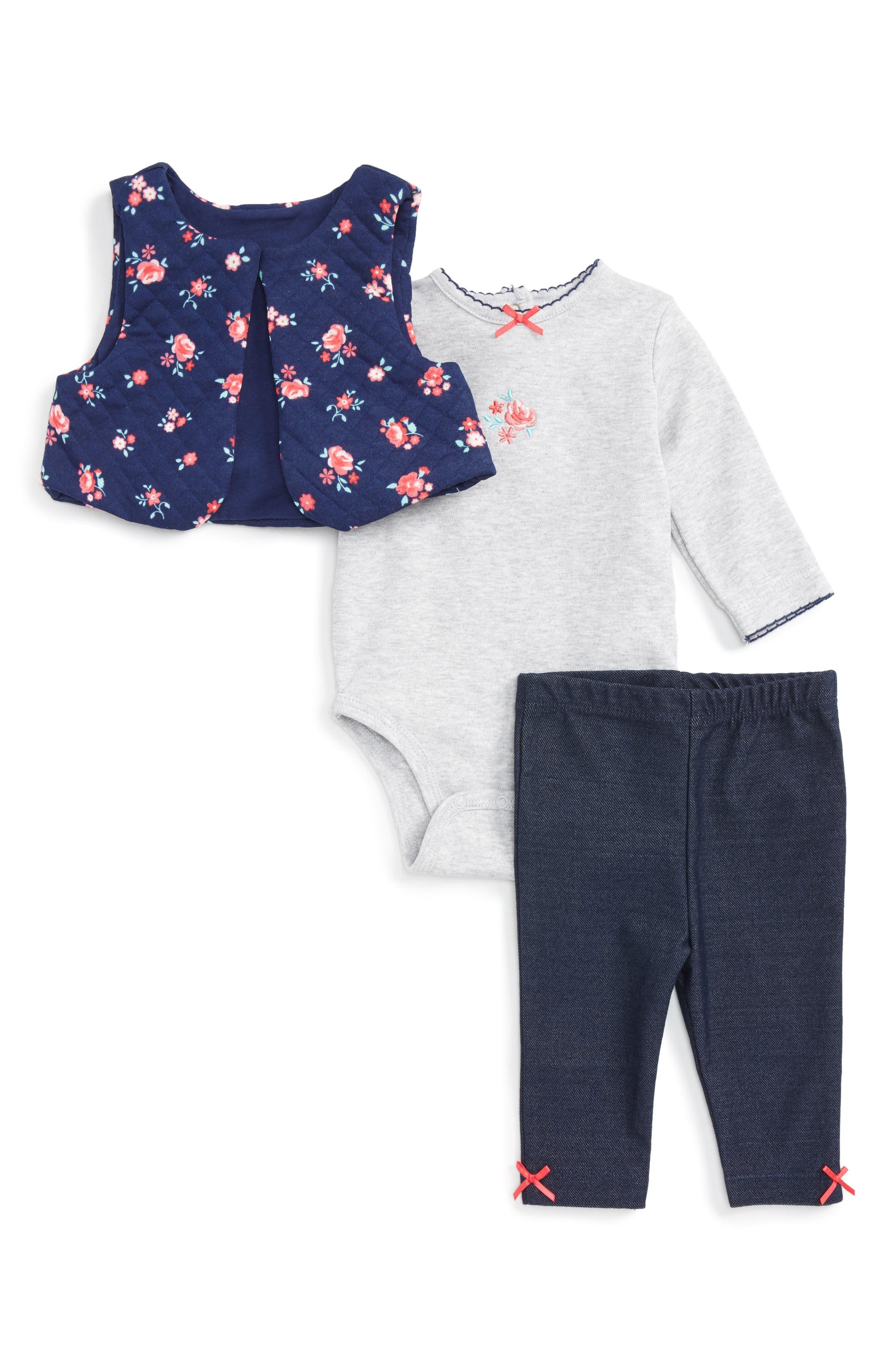 Little Me Floral Vest, Long Sleeve Bodysuit & Leggings Set (Baby Girls)