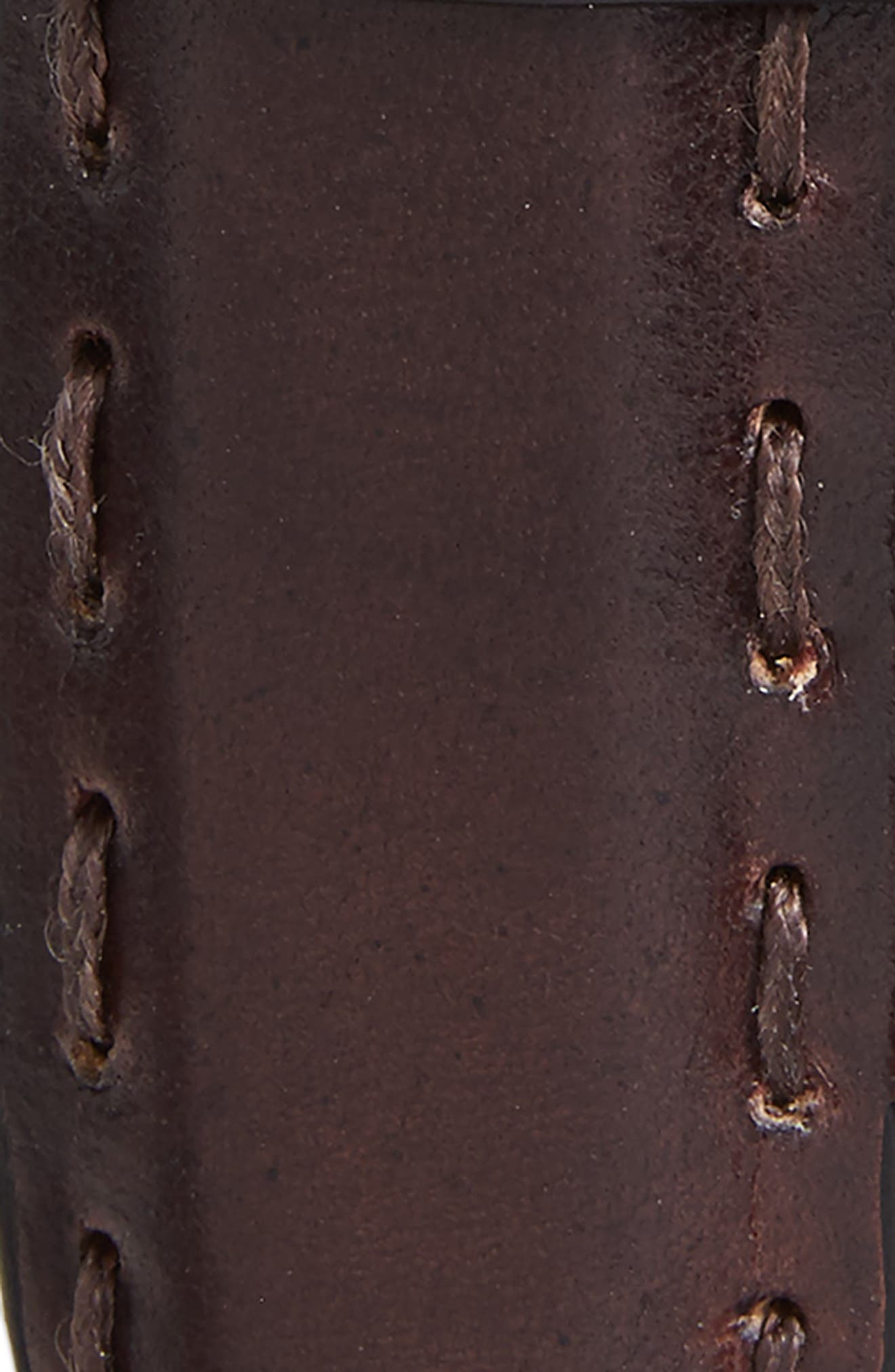 Pickstitch Feather Edge Leather Belt,                             Alternate thumbnail 2, color,                             Chocolate