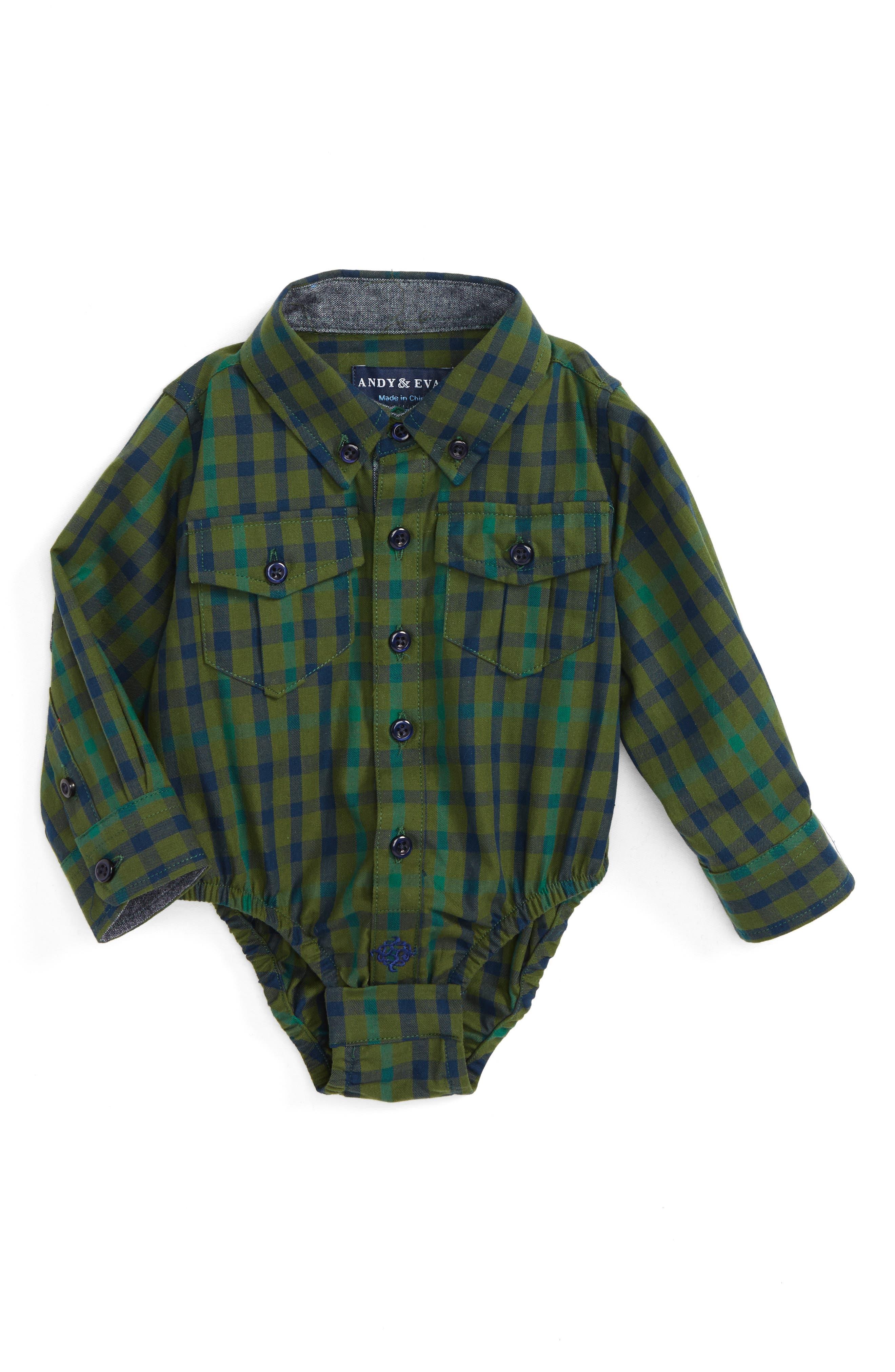 Plaid Shirtzie Bodysuit,                         Main,                         color, Green