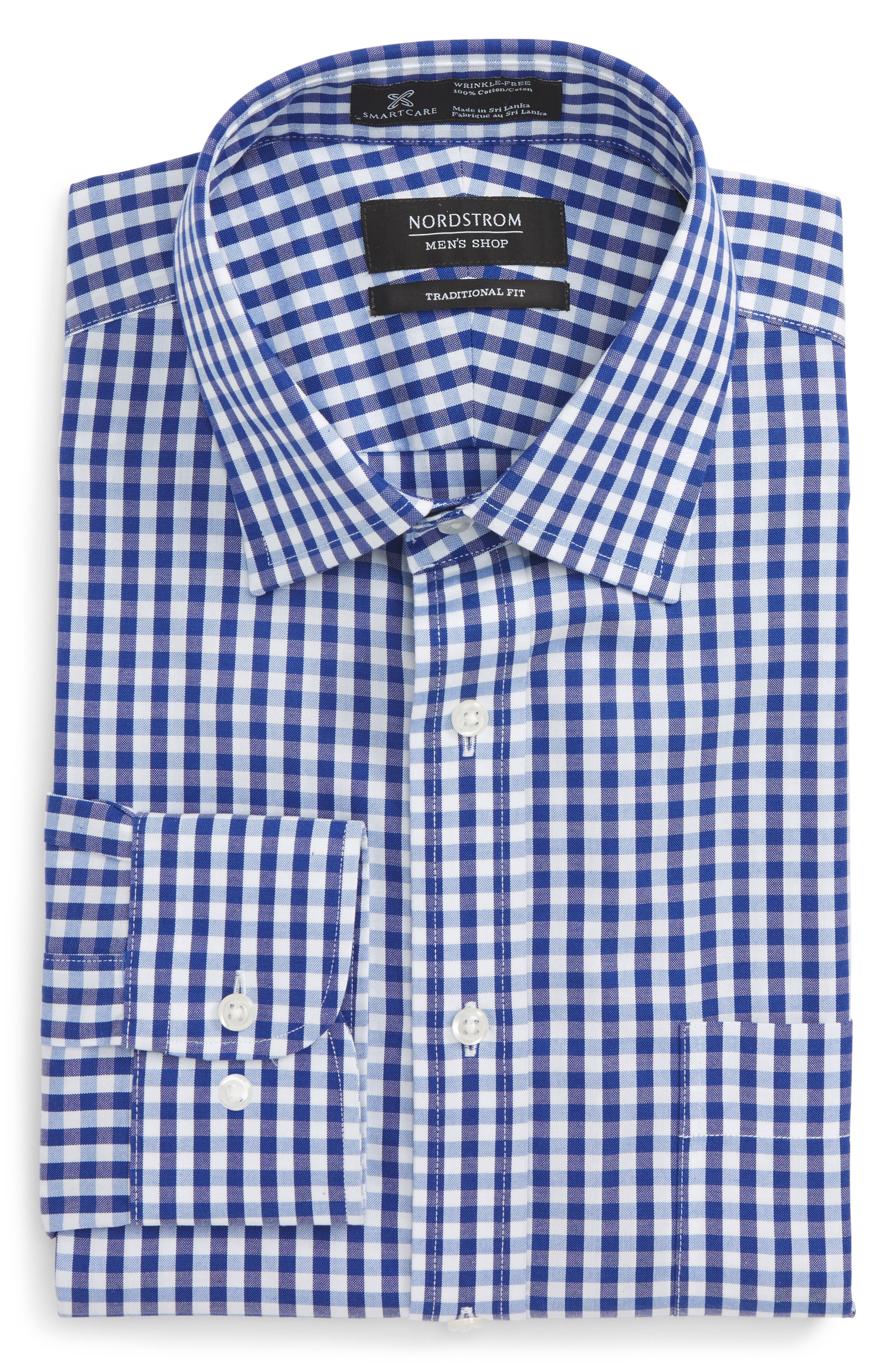 Smartcare<sup>™</sup> Traditional Fit Check Dress Shirt,                             Alternate thumbnail 5, color,                             Blue Mazarine