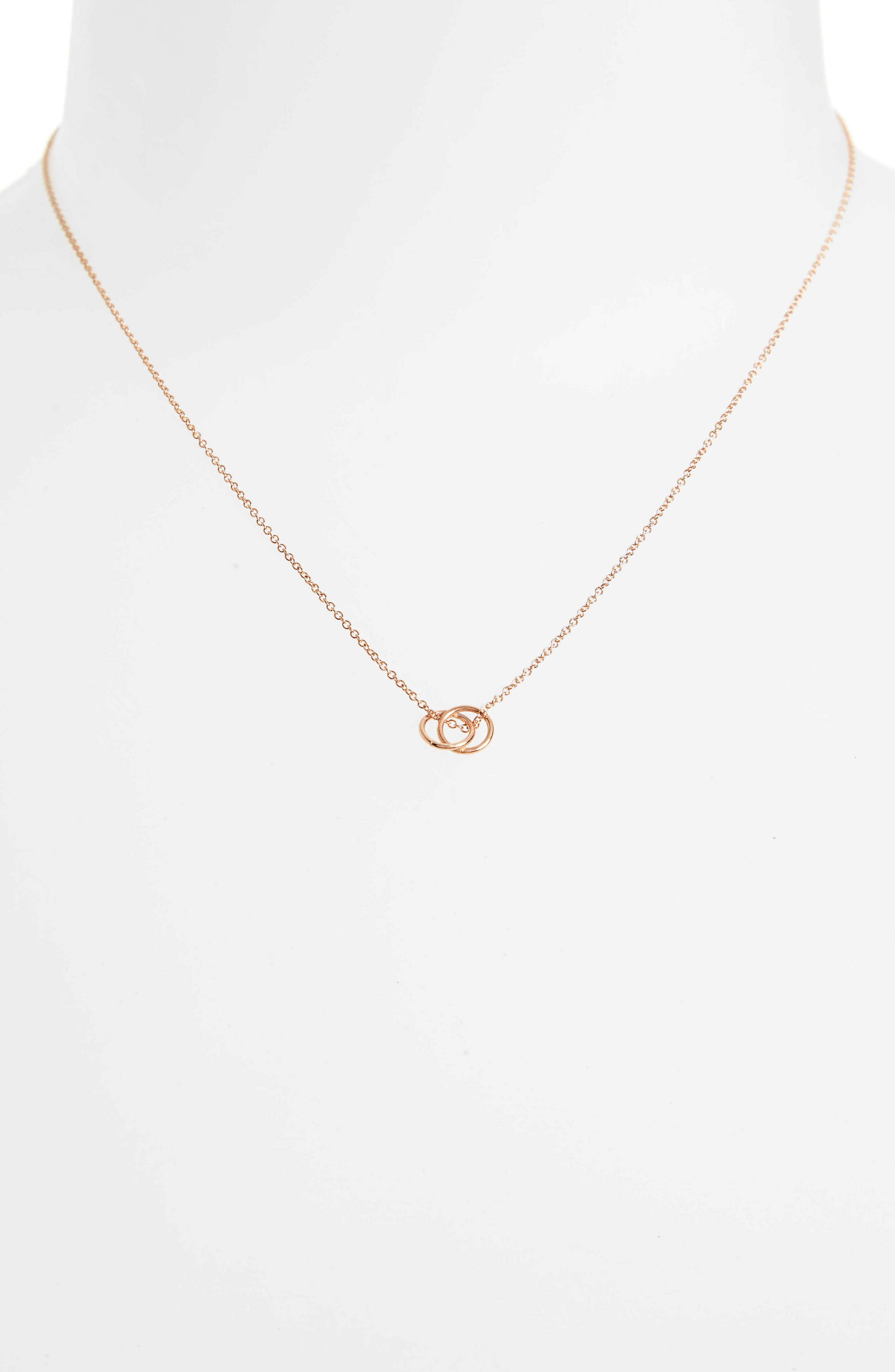 Karma Linked Ring Pendant Necklace,                             Alternate thumbnail 3, color,                             Rose Gold