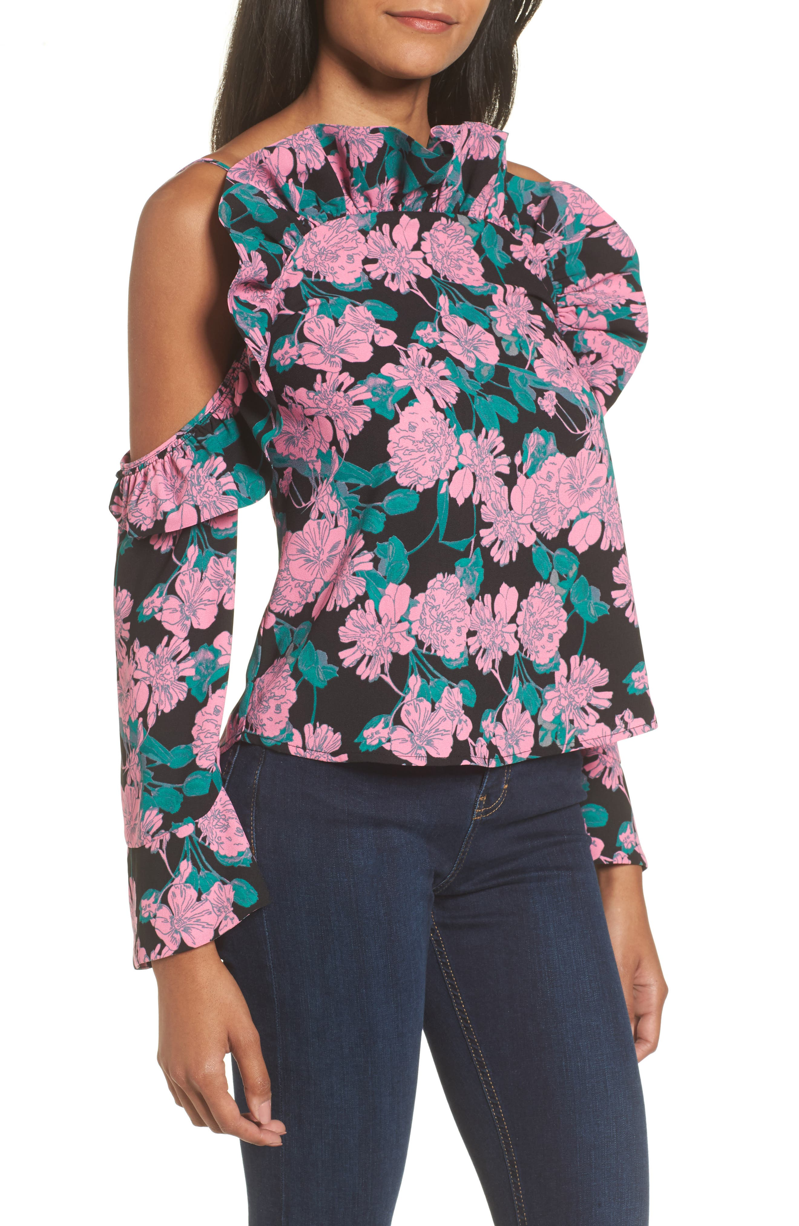Ruffle Cold Shoulder Top,                         Main,                         color, Black Chic Garden