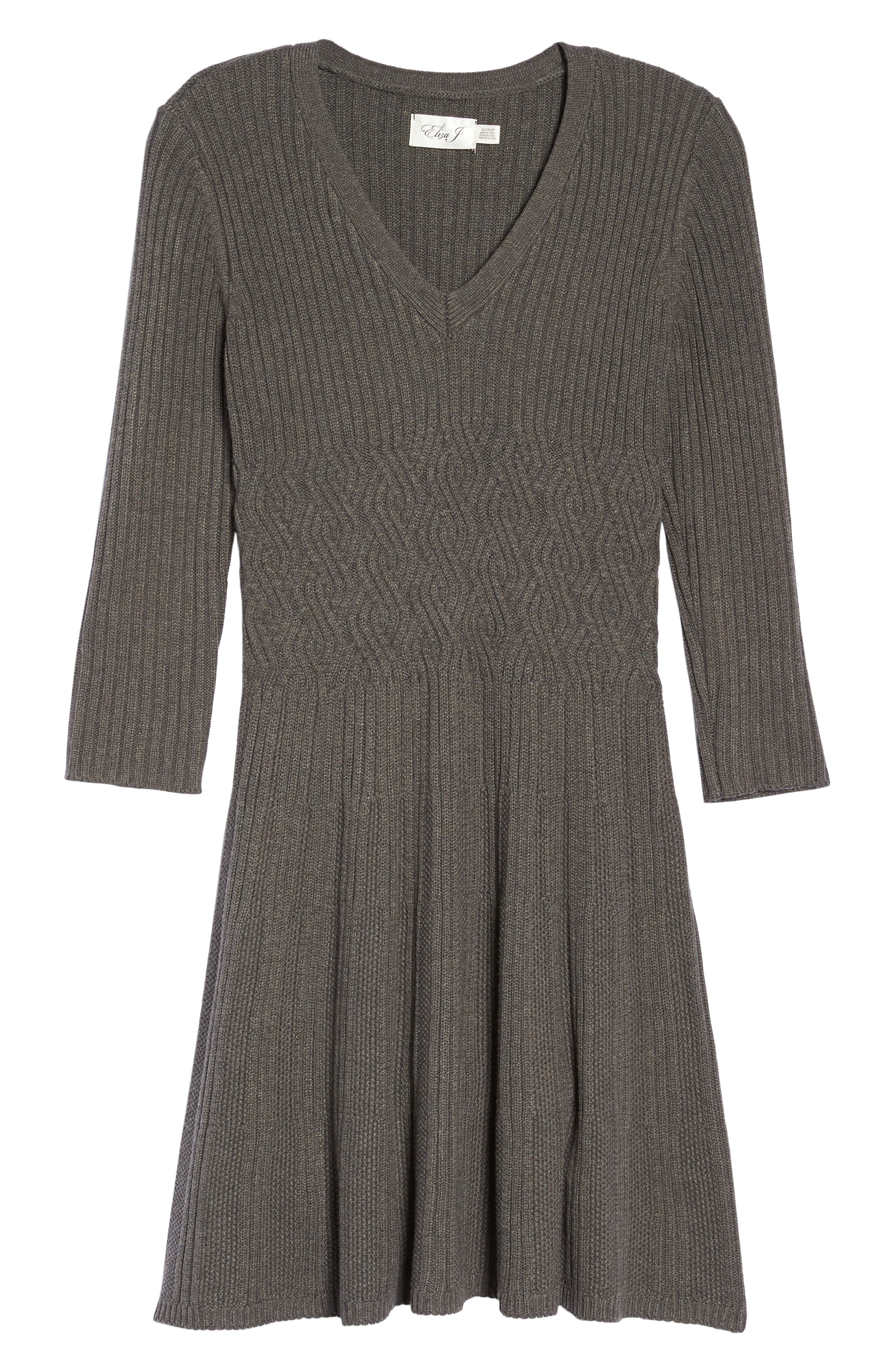 Ribbed Fit & Flare Dress,                             Alternate thumbnail 6, color,                             Grey