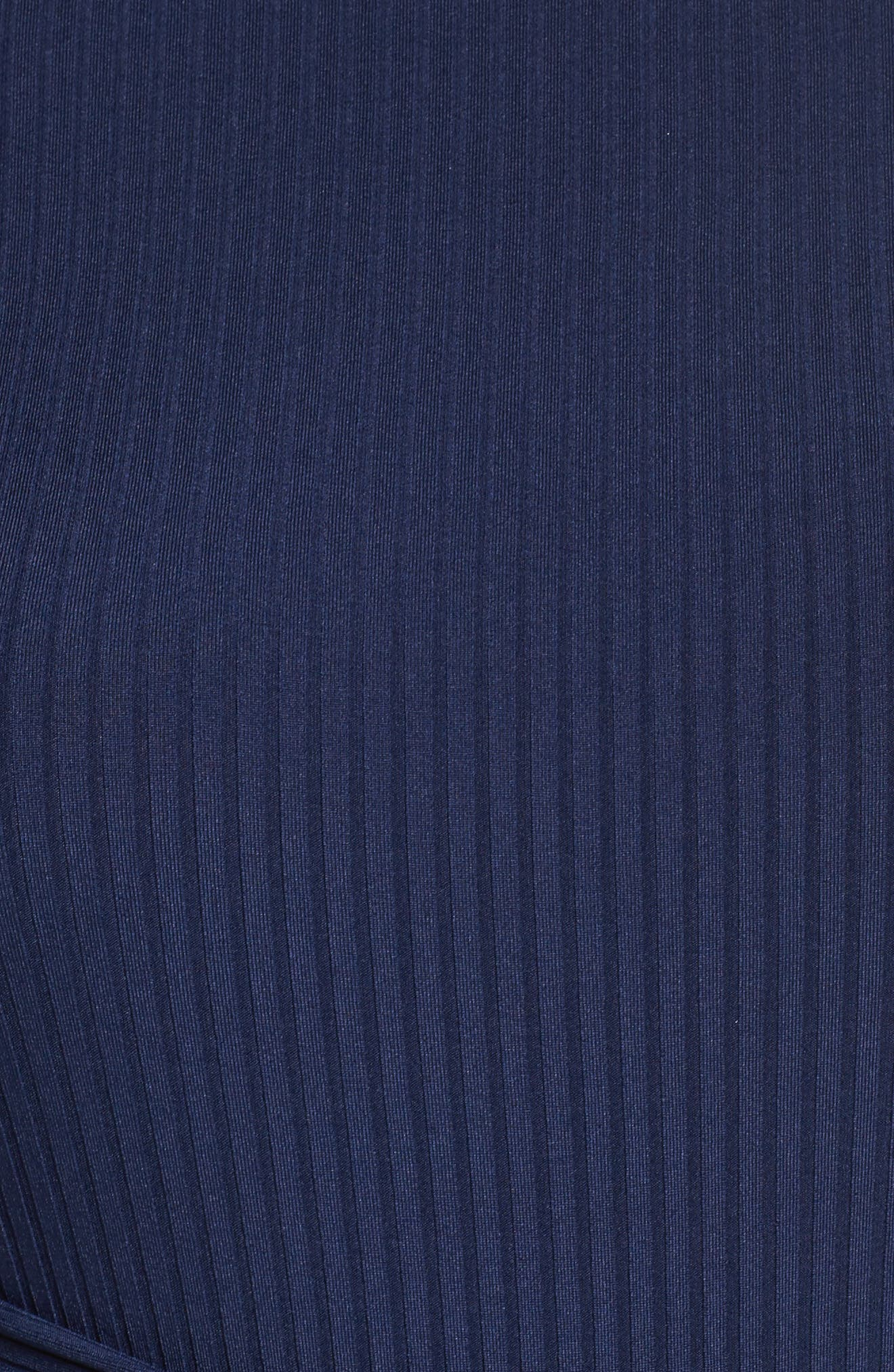 Tie Front Ribbed Sheath Dress,                             Alternate thumbnail 7, color,                             Navy