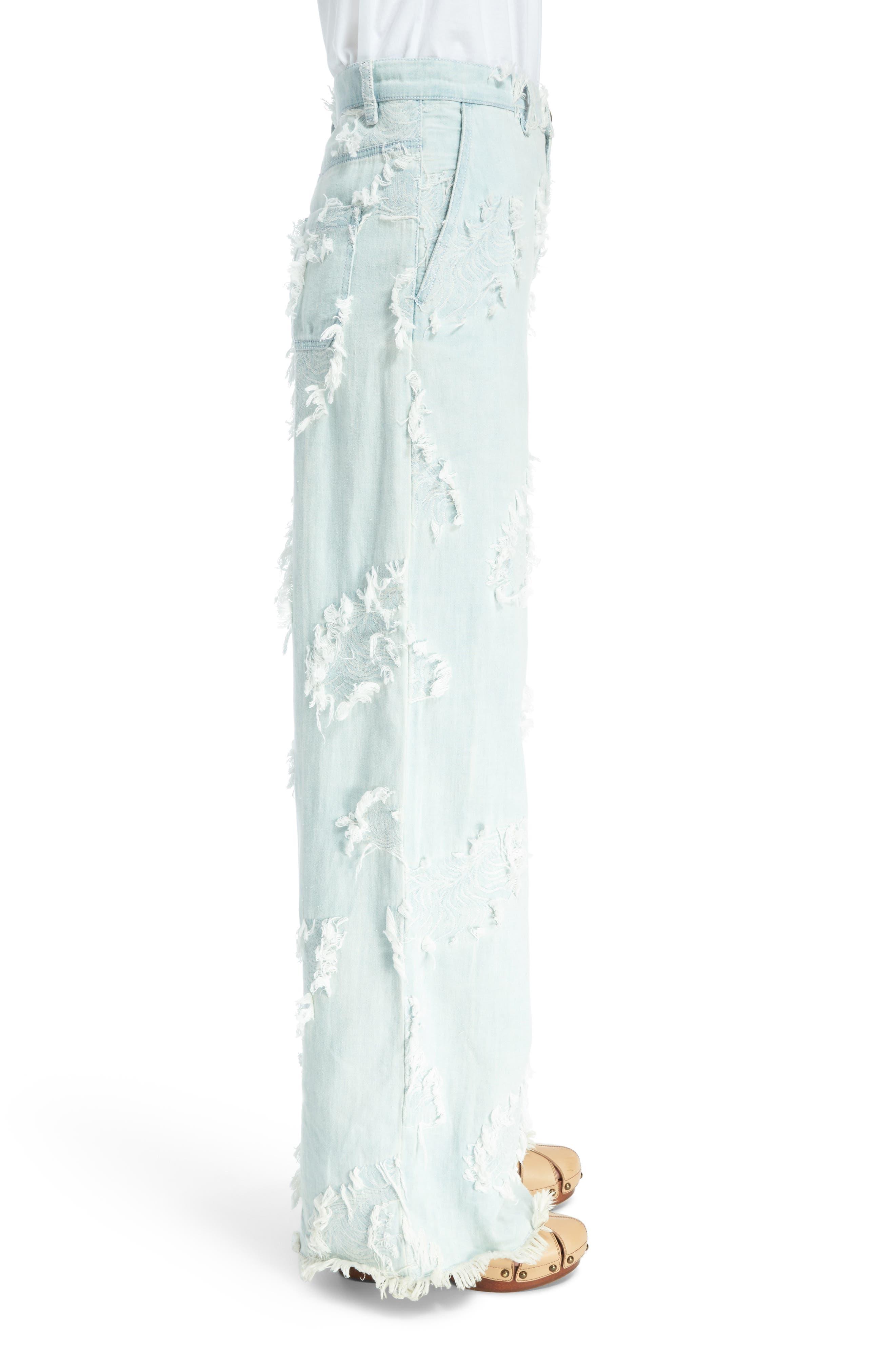 Feather Detail Wide Leg Jeans,                             Alternate thumbnail 3, color,                             Misty Blue