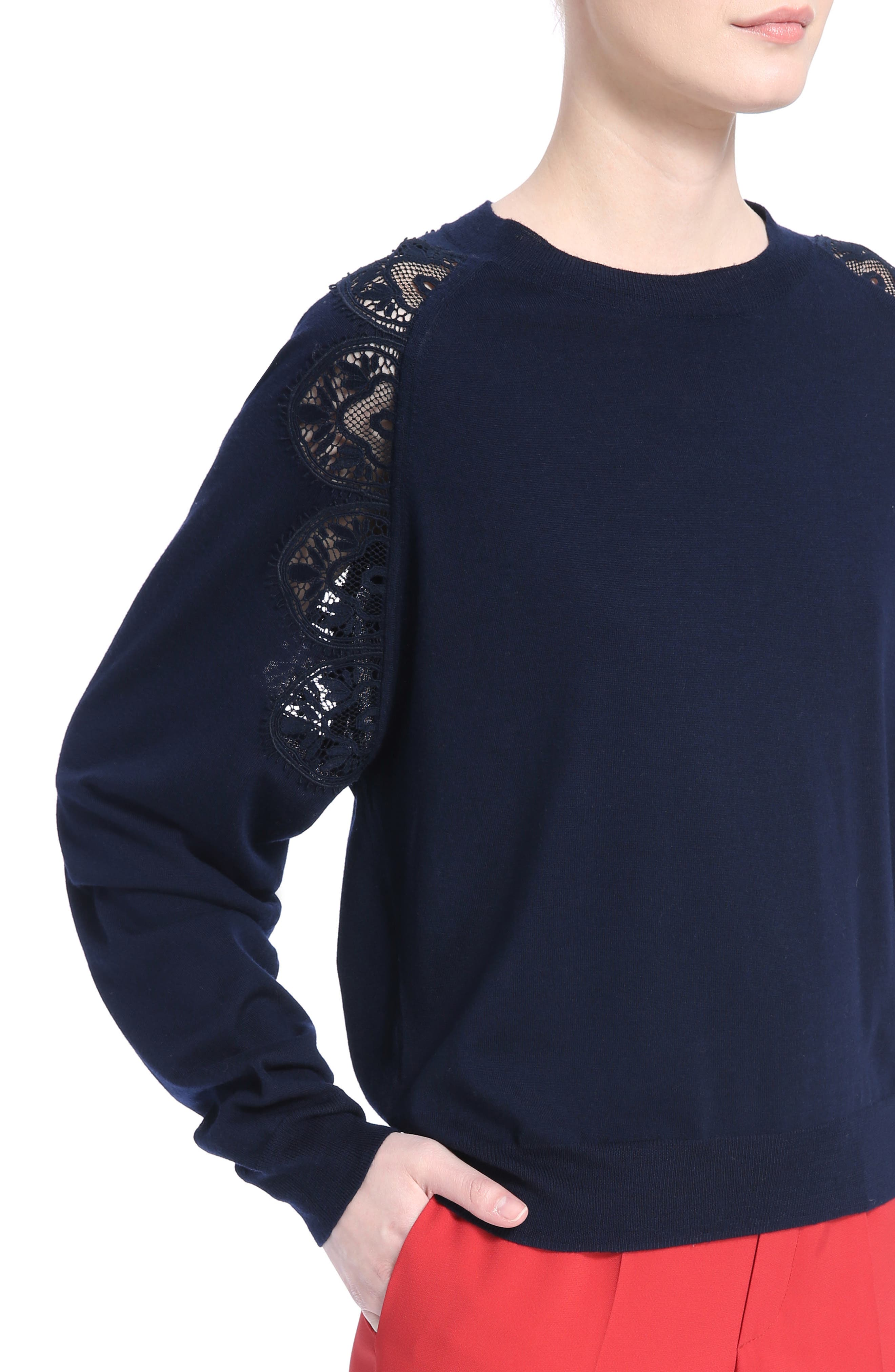 Lace Inset Sweater,                             Alternate thumbnail 4, color,                             Iconic Navy