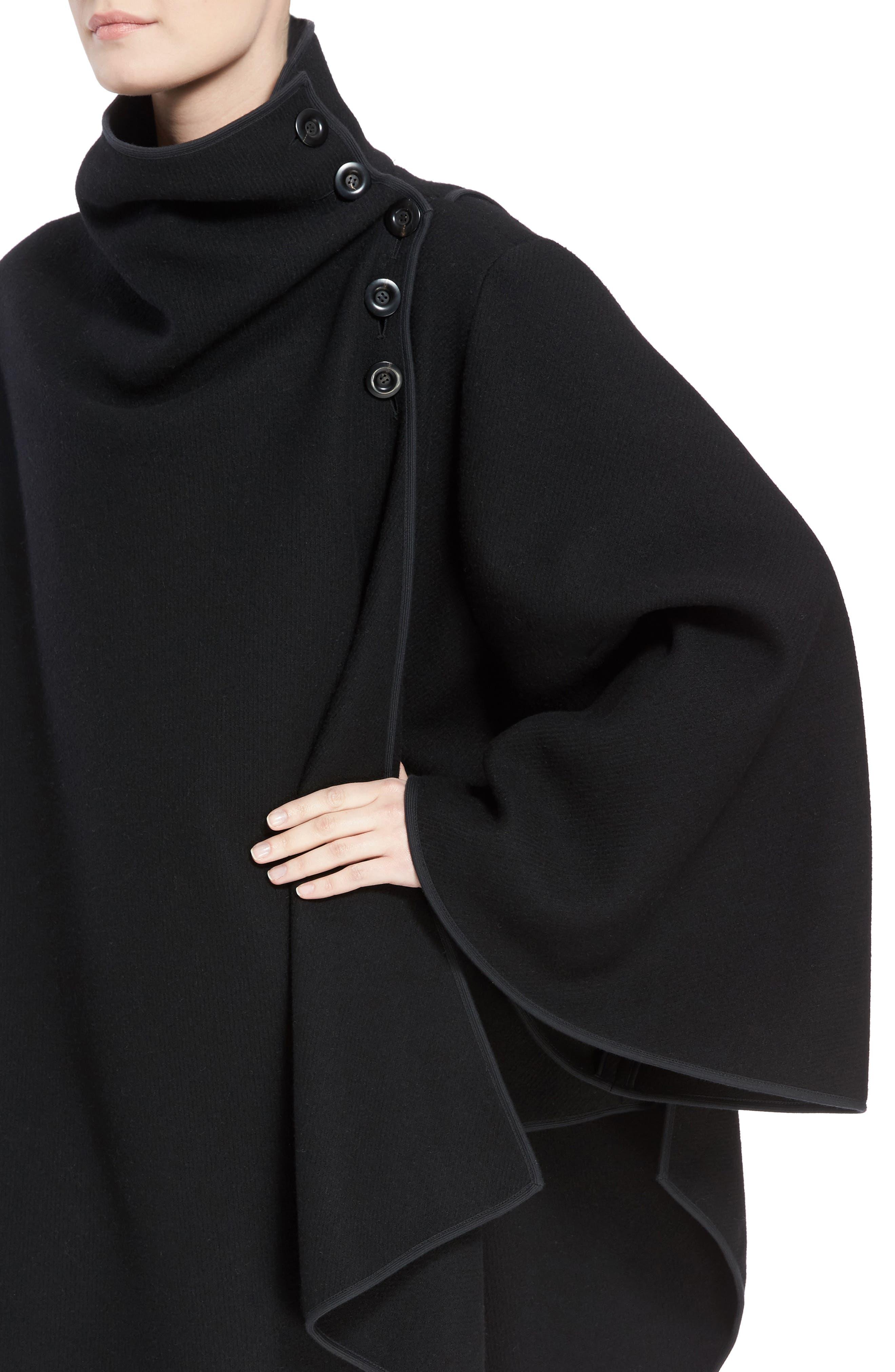 Virgin Wool Blend Poncho,                             Alternate thumbnail 4, color,                             Black