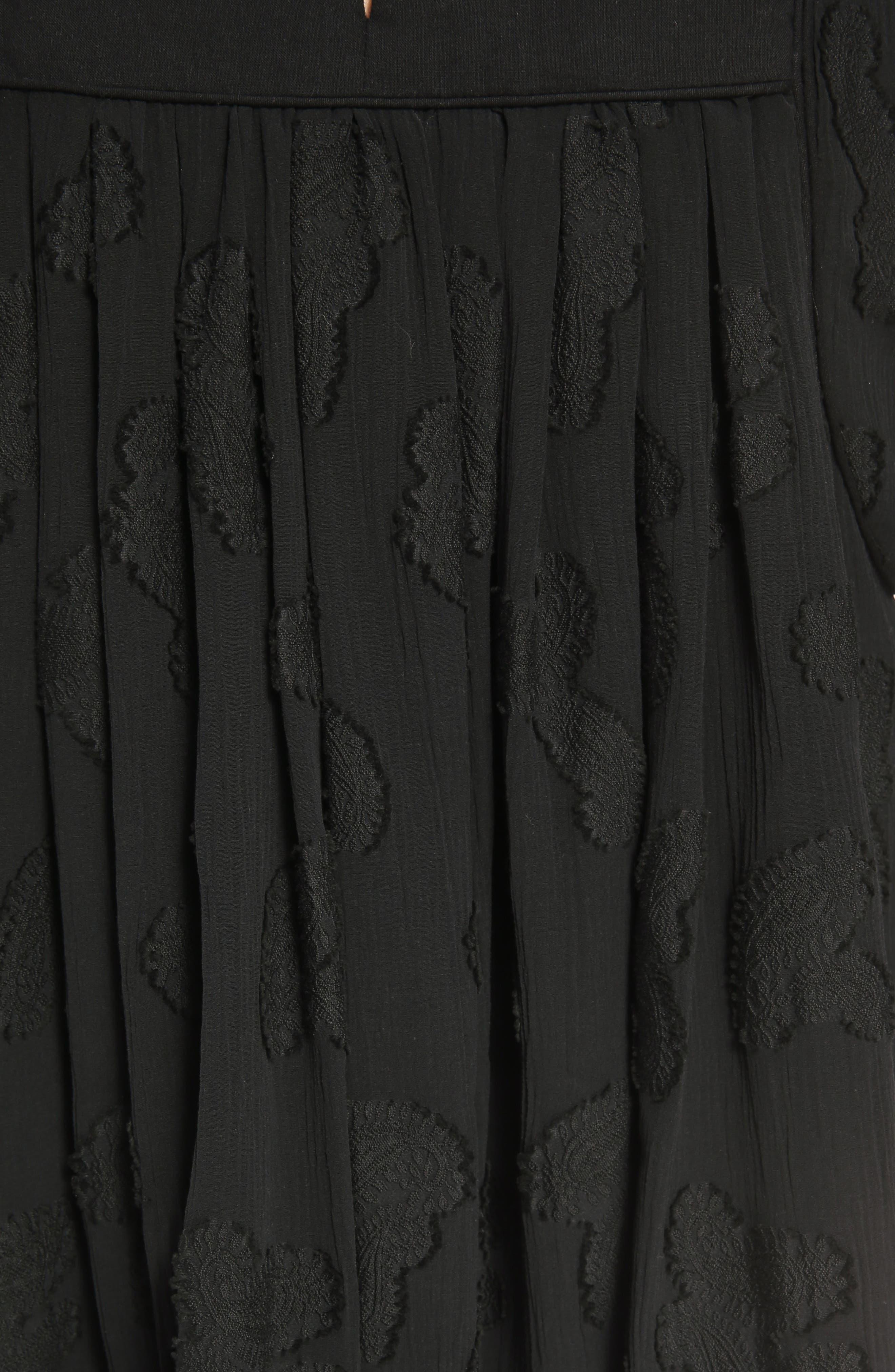 Paisley Jacquard Crépon Blouse,                             Alternate thumbnail 6, color,                             Black