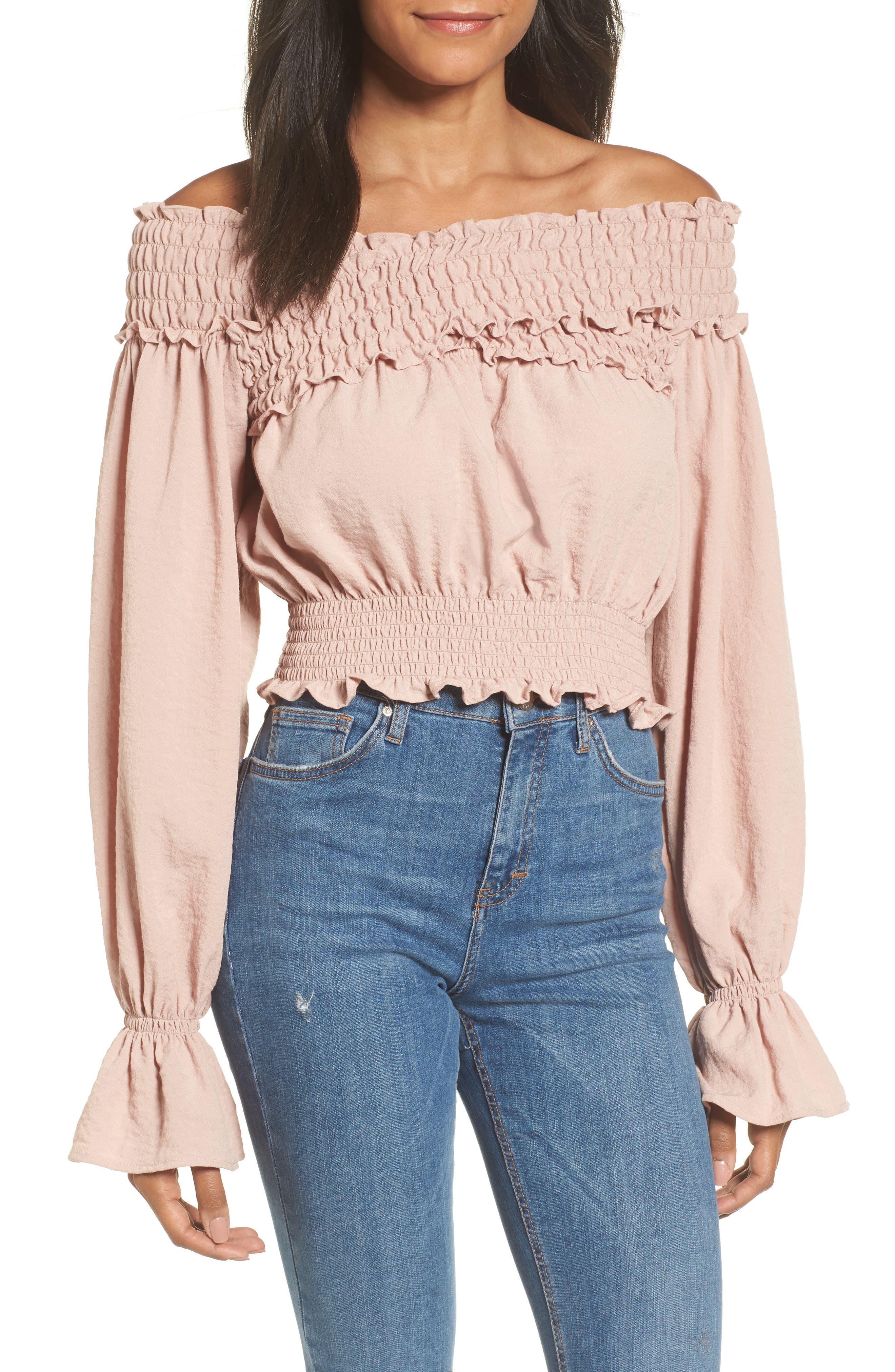 Delany Off the Shoulder Crop Top,                         Main,                         color, Primrose Pink