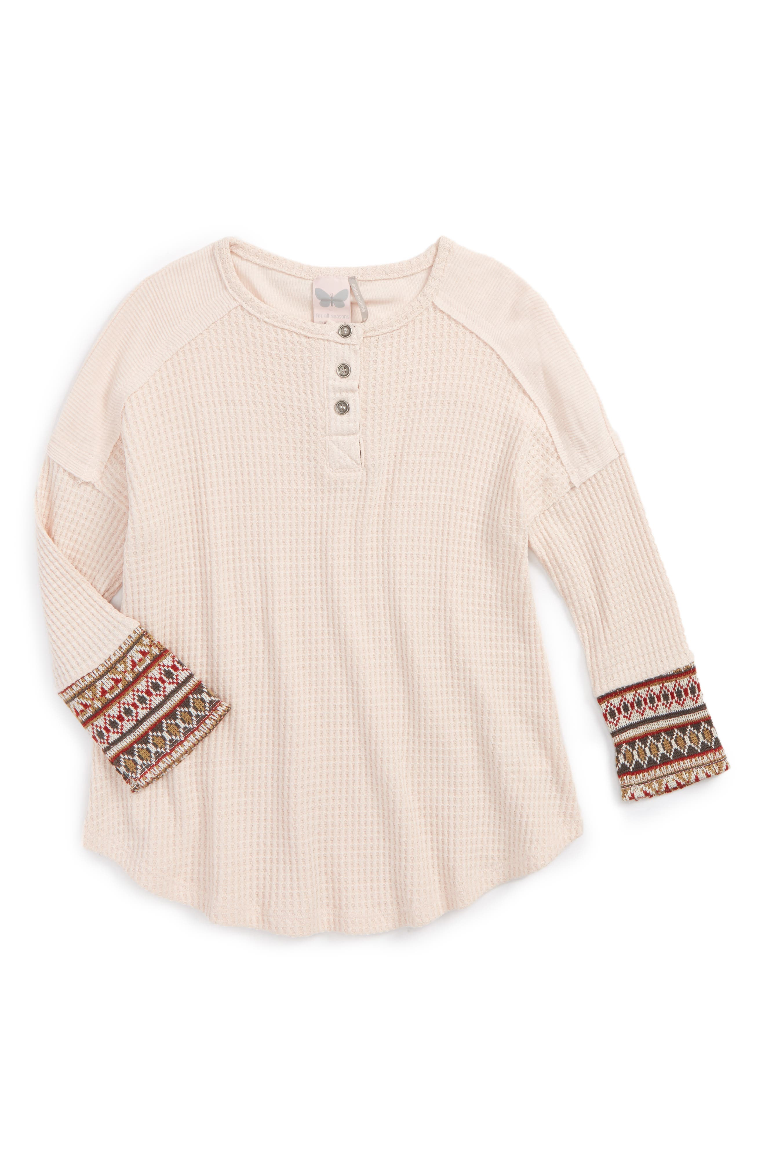 Fairisle Thermal Shirt,                             Main thumbnail 1, color,                             Cream