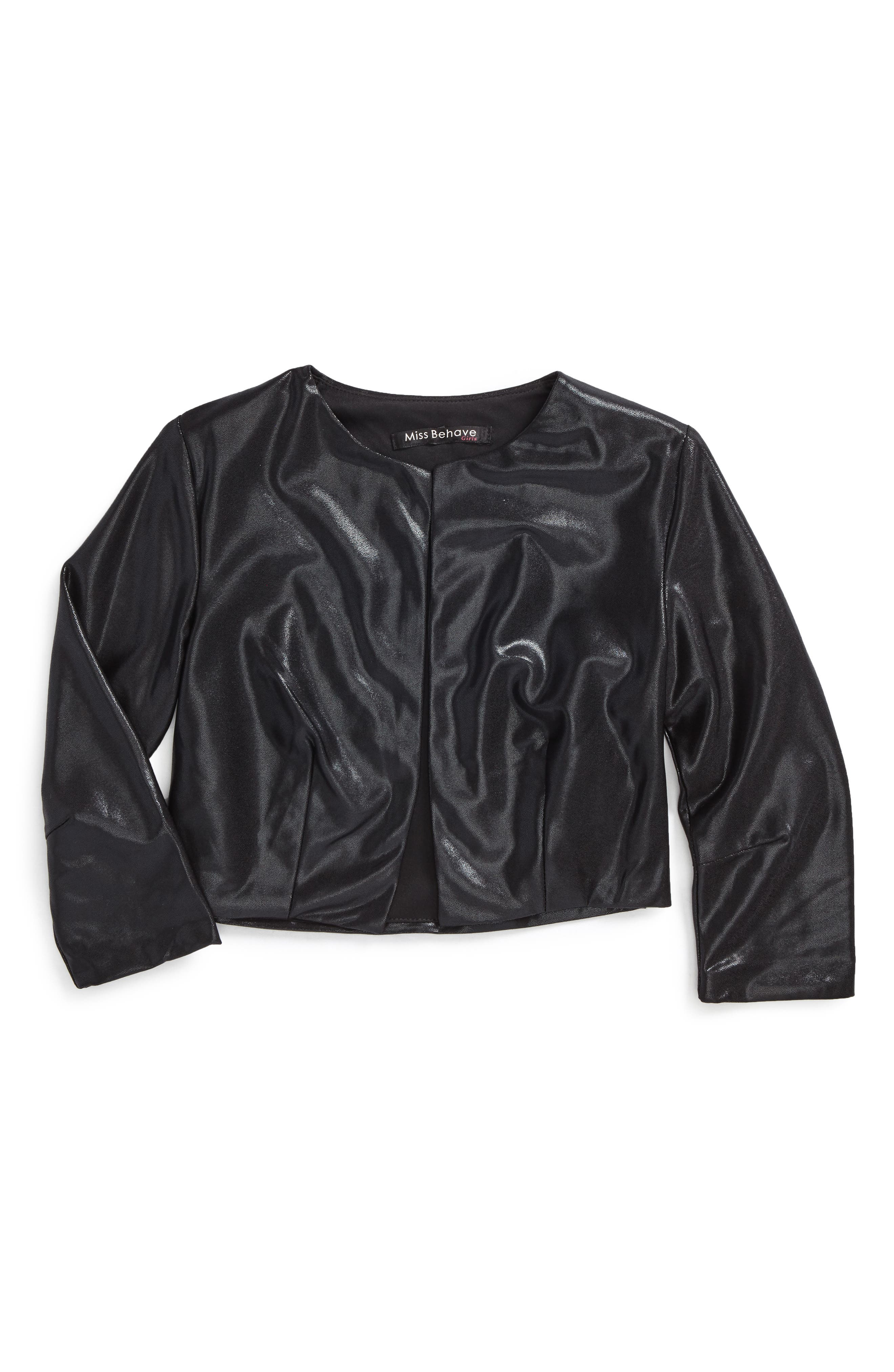 Miss Behave Samatha Faux Leather Bolero Jacket (Big Girls)