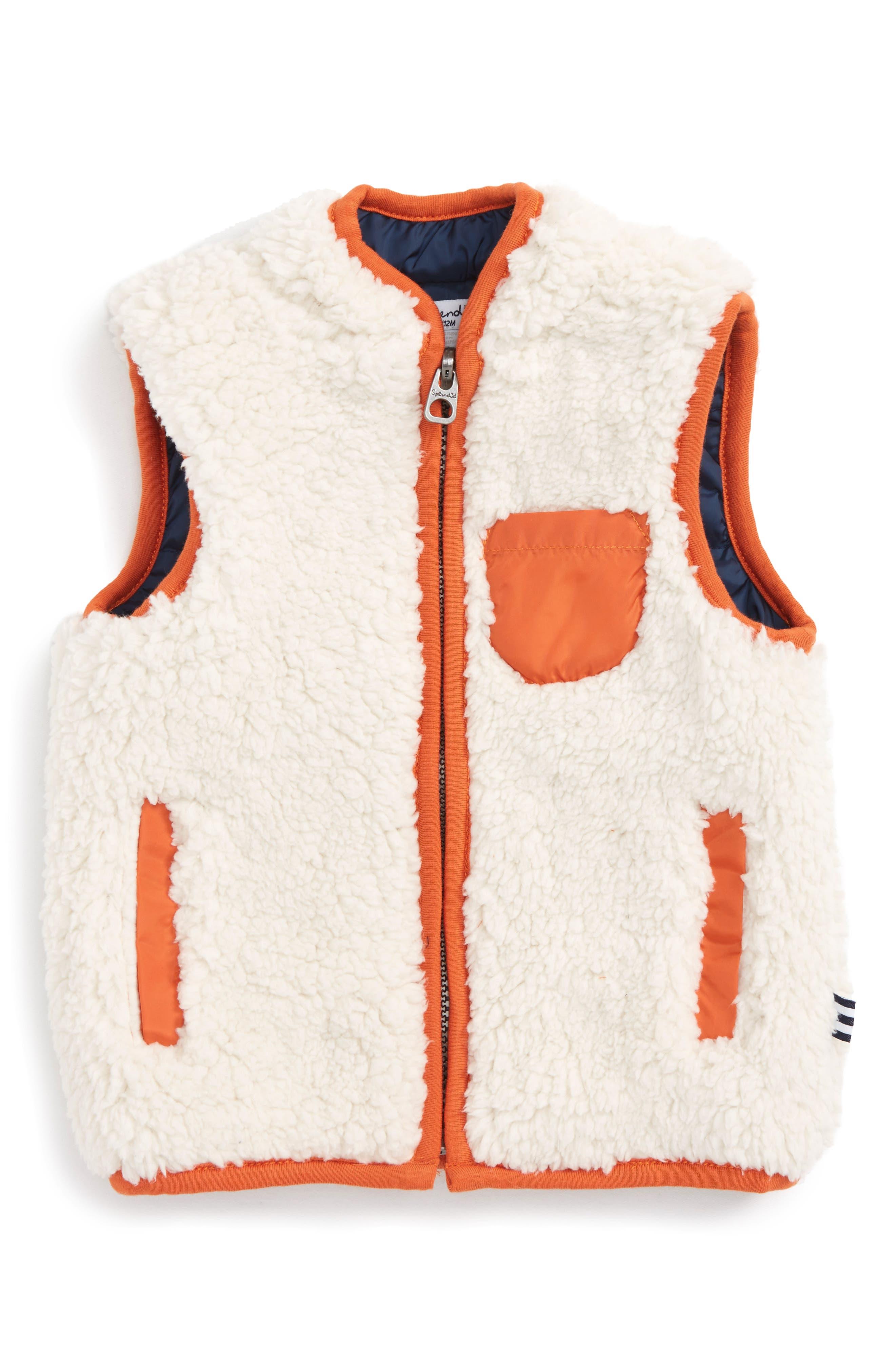 Reversible Faux Shearling Vest,                         Main,                         color, Off White S102