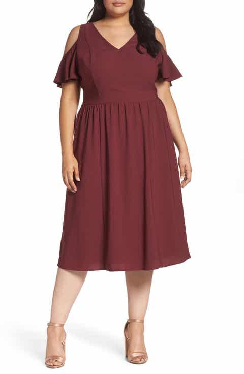 Sejour Cold Shoulder Midi Dress Plus Size