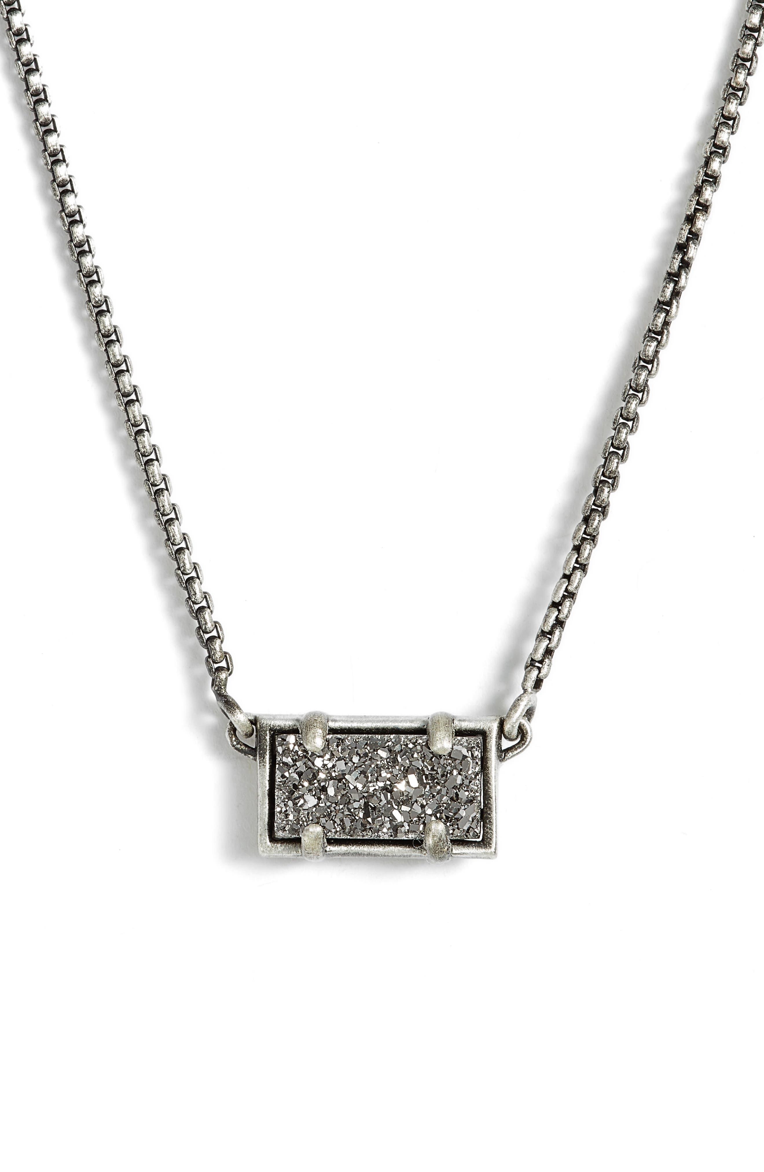 Pattie Pendant Necklace,                             Main thumbnail 1, color,                             Platinum Drusy/ Antique Silver