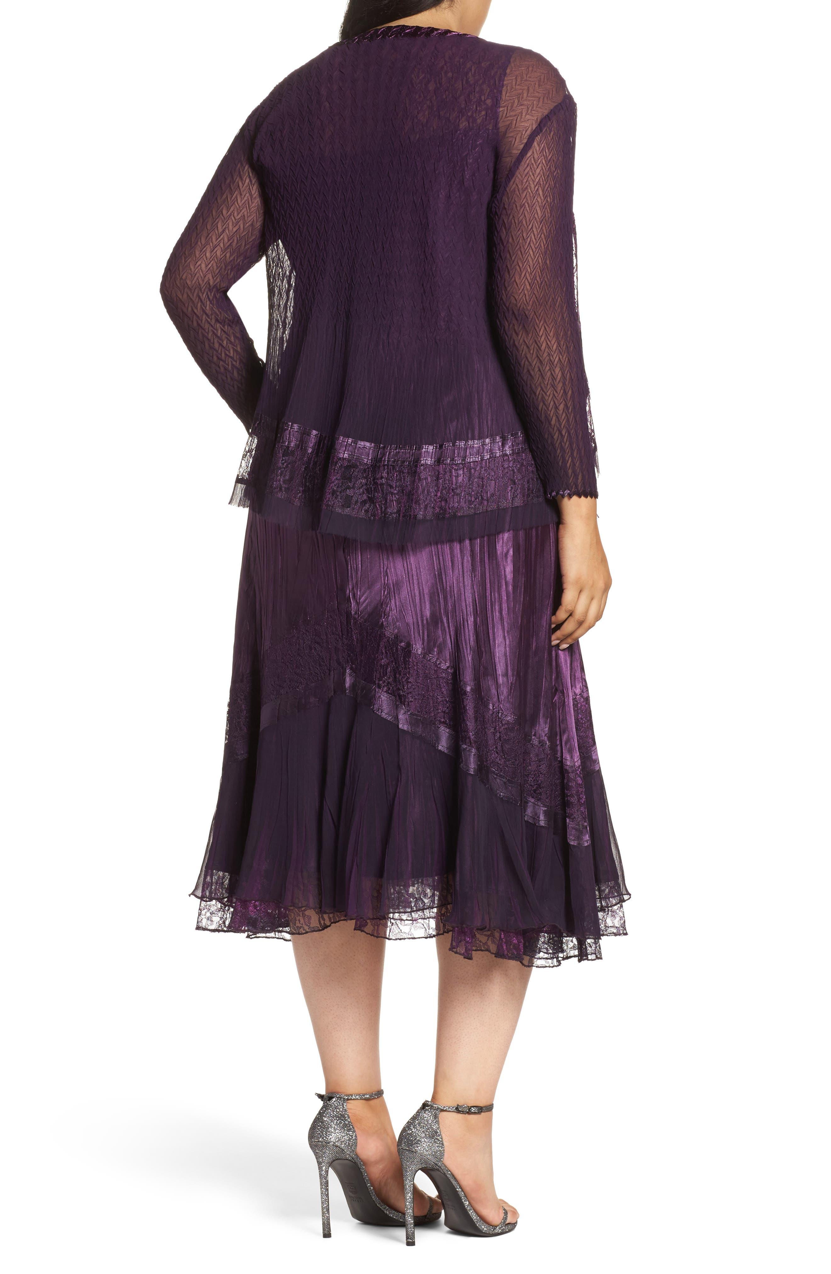 Alternate Image 2  - Komarov Mixed Media A-Line Dress & Jacket (Plus Size)