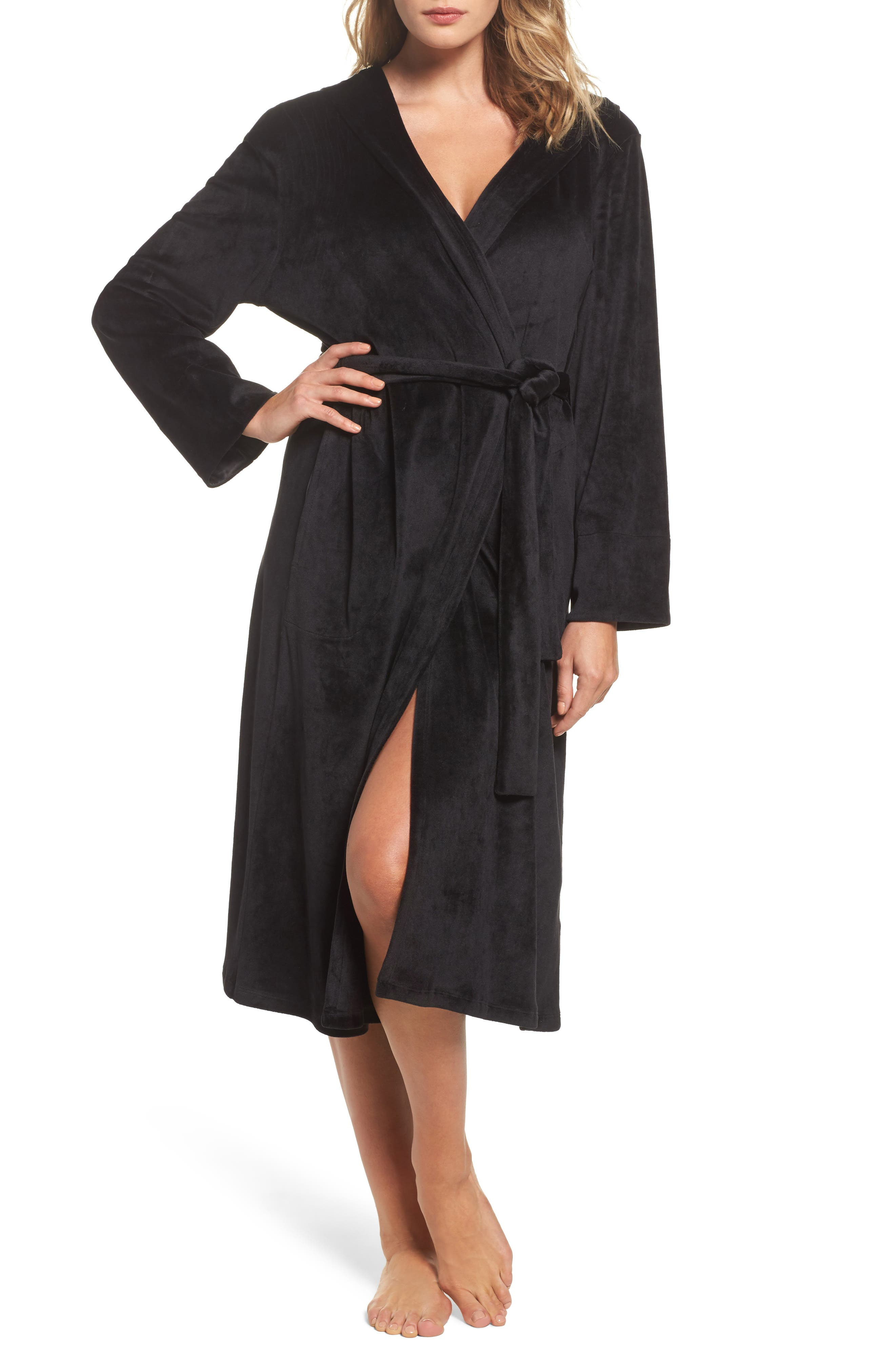 Luxury Plush Hooded Robe,                         Main,                         color, Black