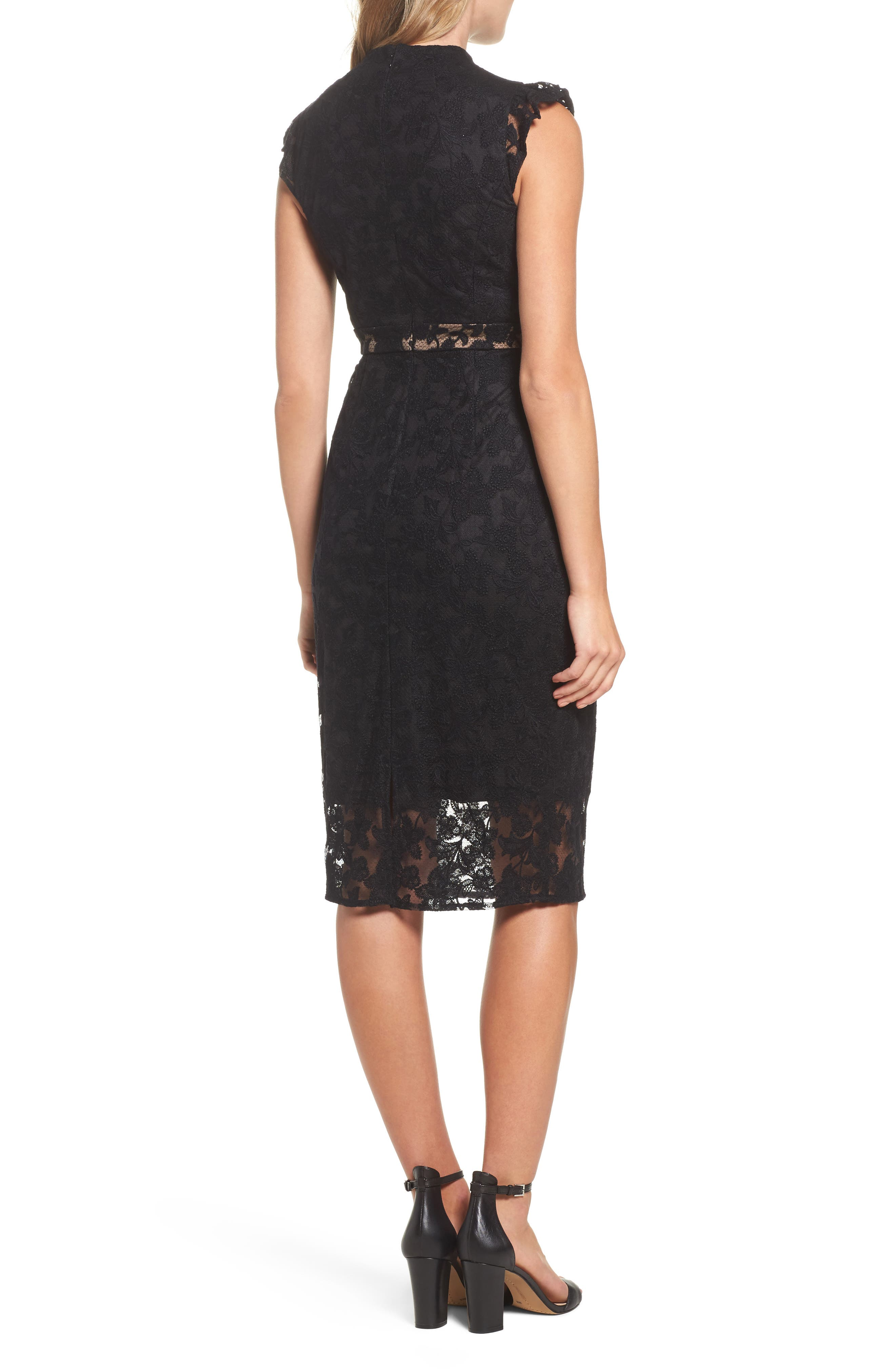 Salmone Lace Sheath Dress,                             Alternate thumbnail 2, color,                             Black/ Nude
