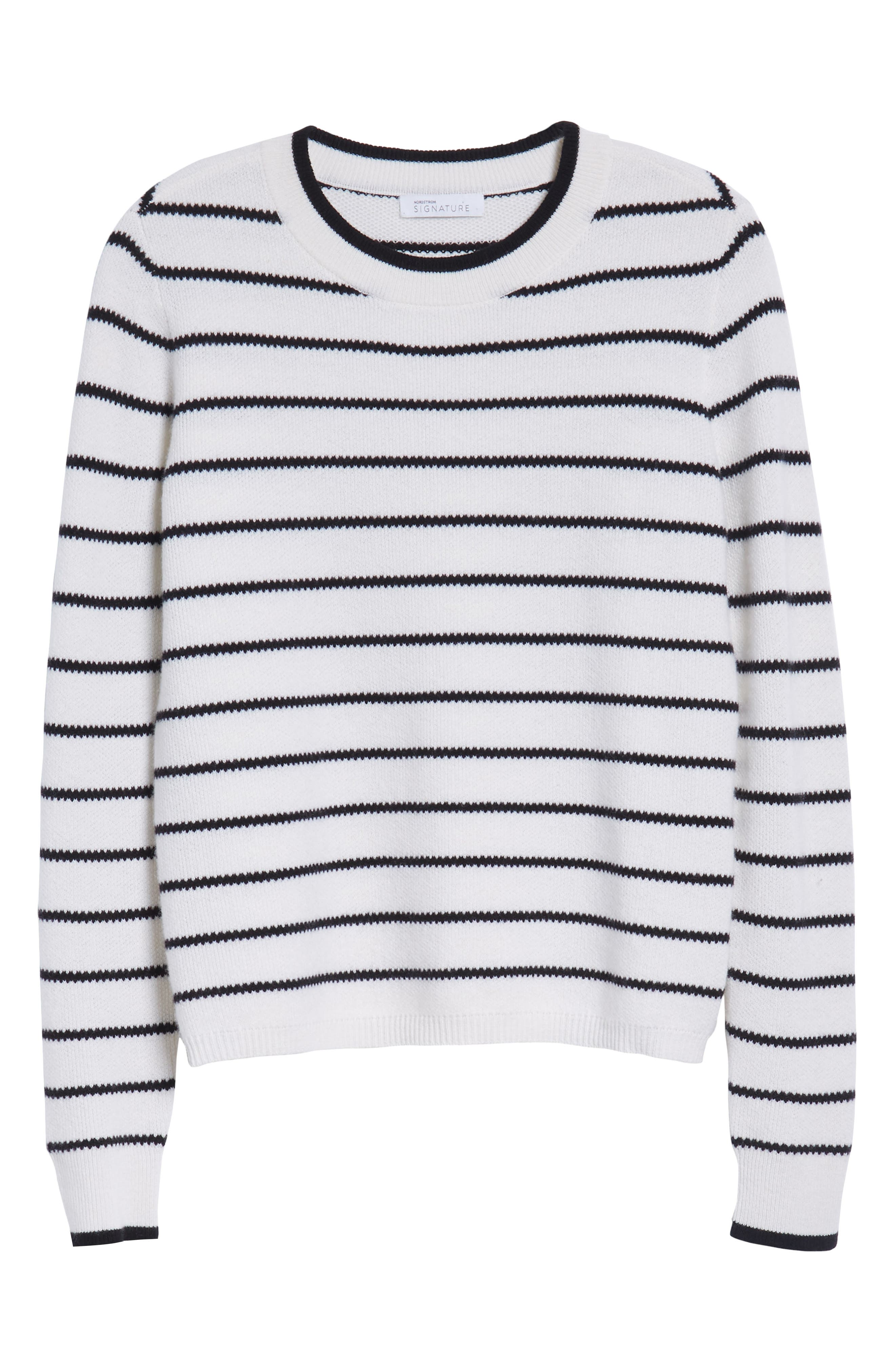 Stripe Cashmere Sweater,                             Alternate thumbnail 9, color,                             Ivory- Black Stripe