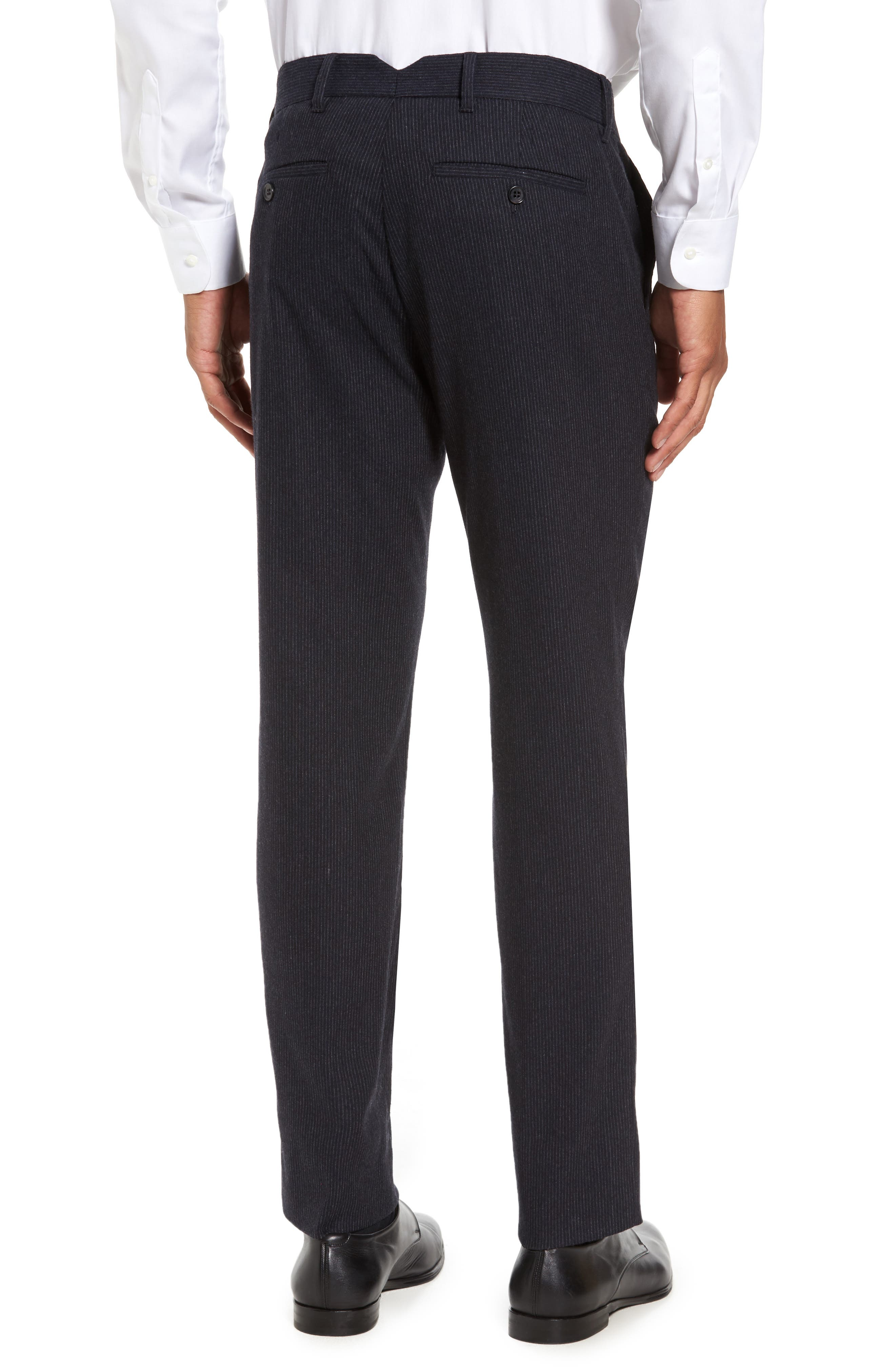 Rushmore Pinstripe Stretch Wool Blend Trousers,                             Alternate thumbnail 2, color,                             Navy