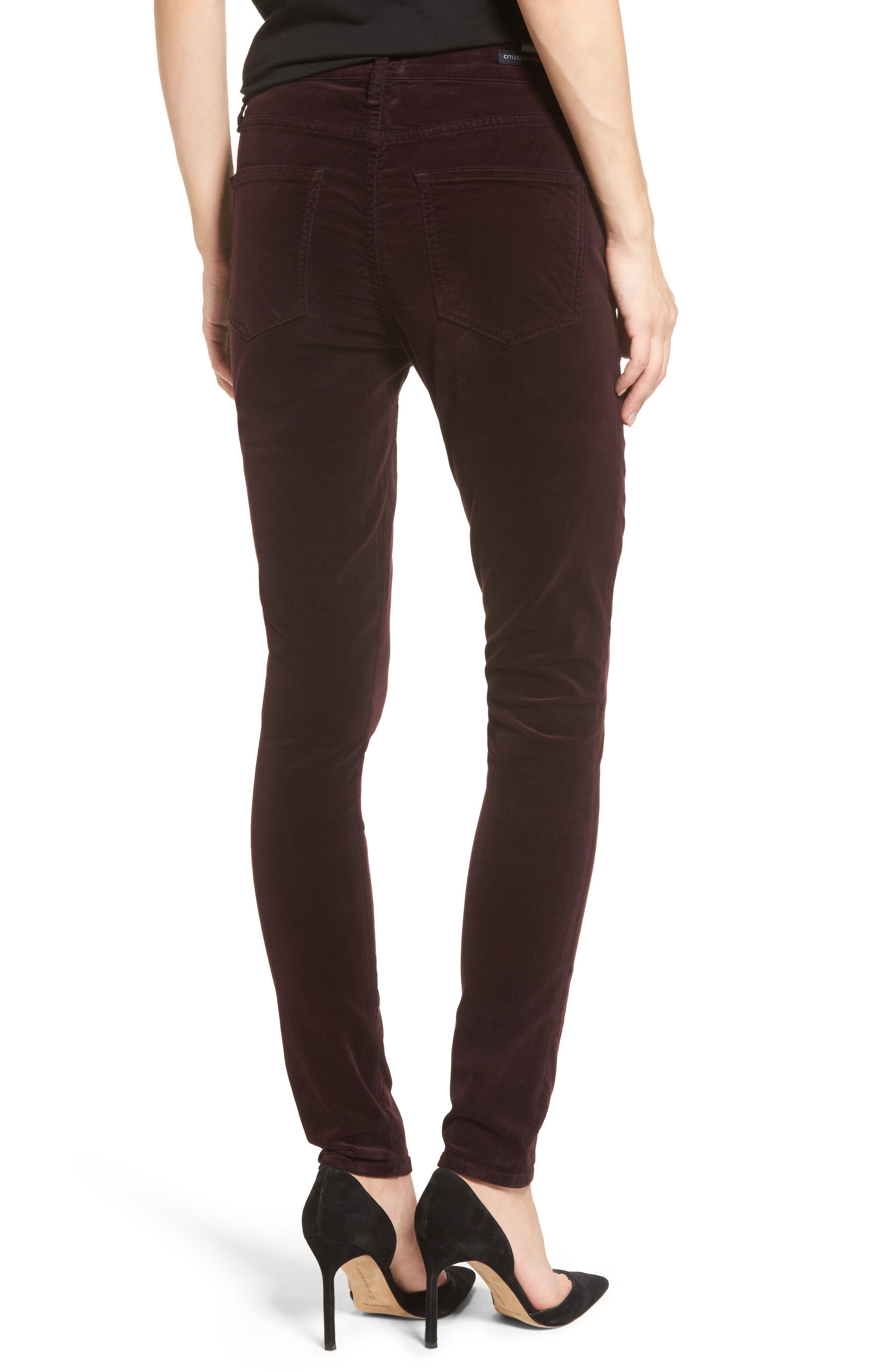 Rocket High Waist Velveteen Skinny Pants,                             Alternate thumbnail 2, color,                             Black Currant Velvet