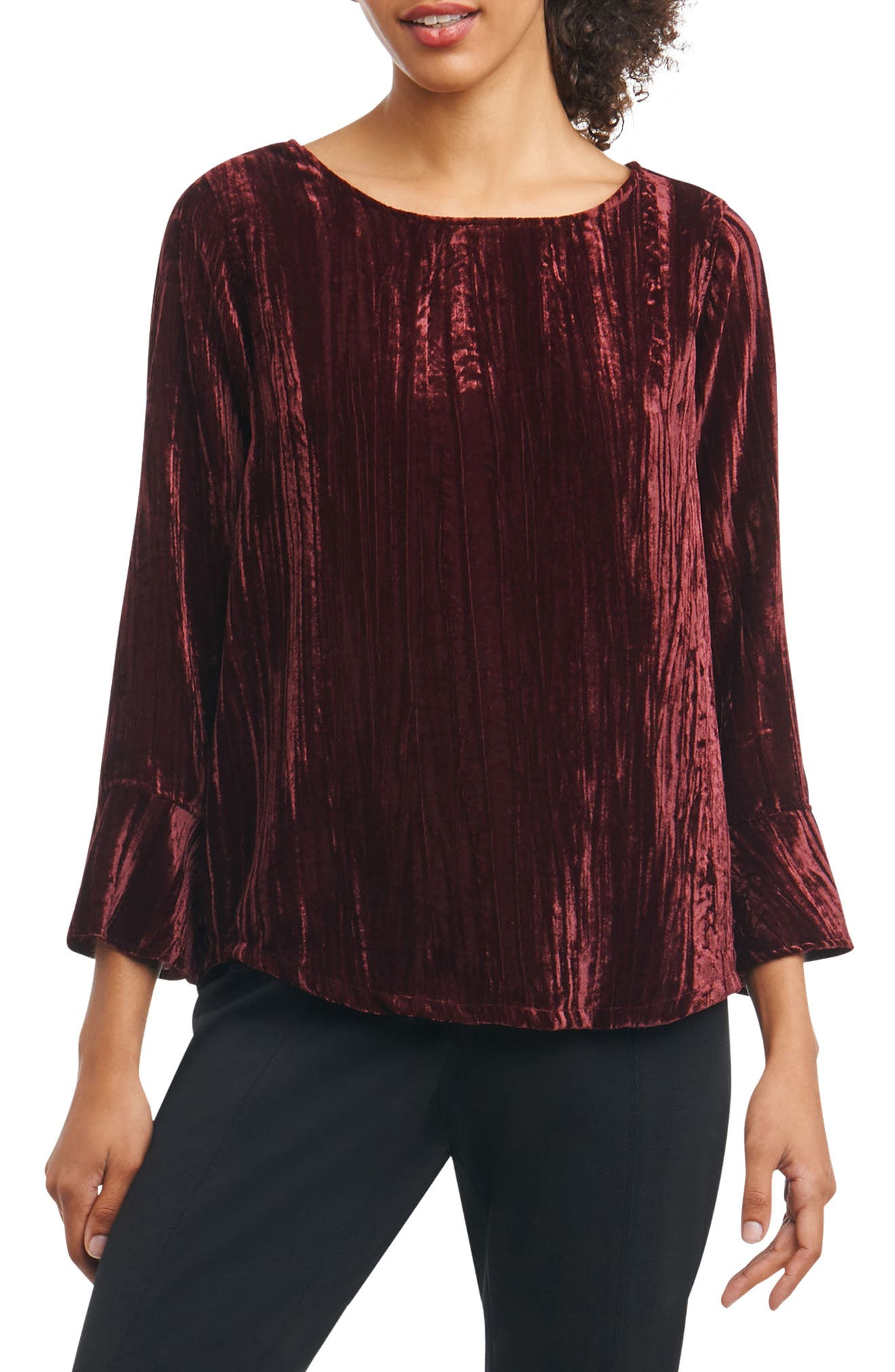 Foxcroft Korin Broomstick Velvet Top (Regular & Petite)