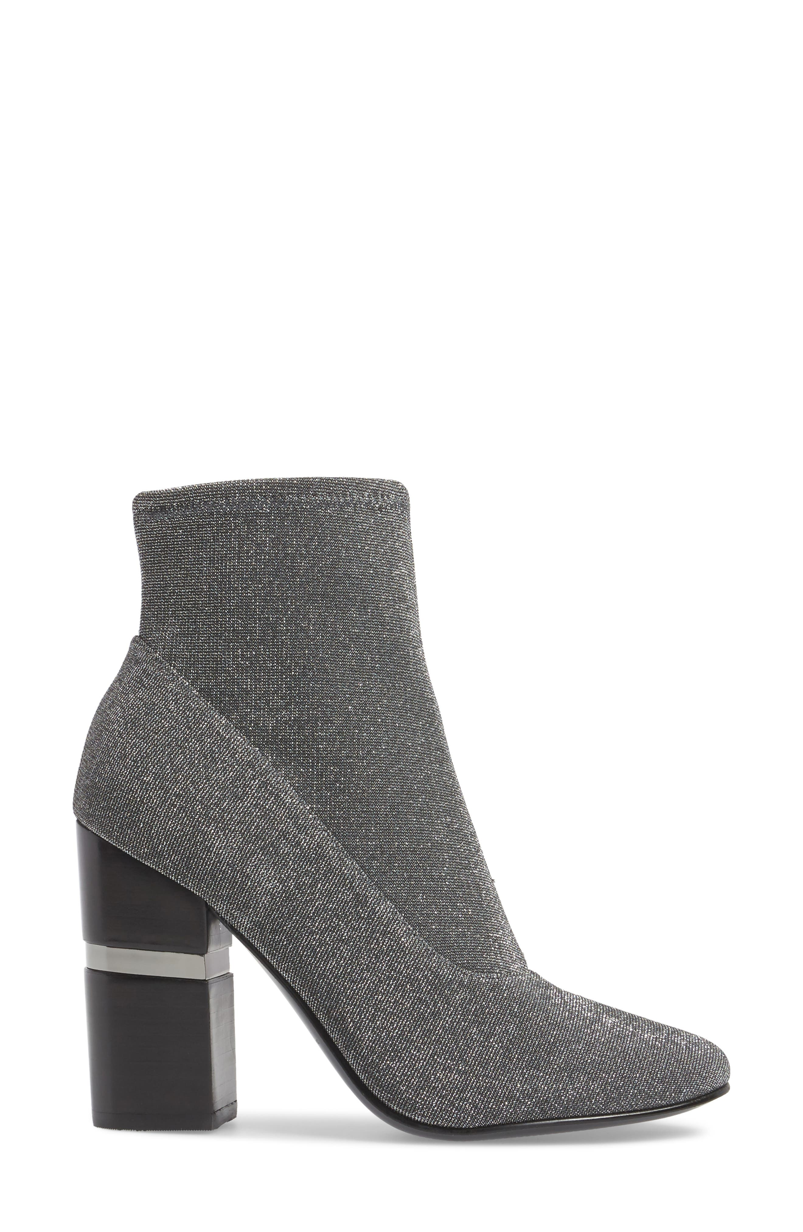 Padda Embellished Stretch Bootie,                             Alternate thumbnail 3, color,                             Silver Glitter Fabric