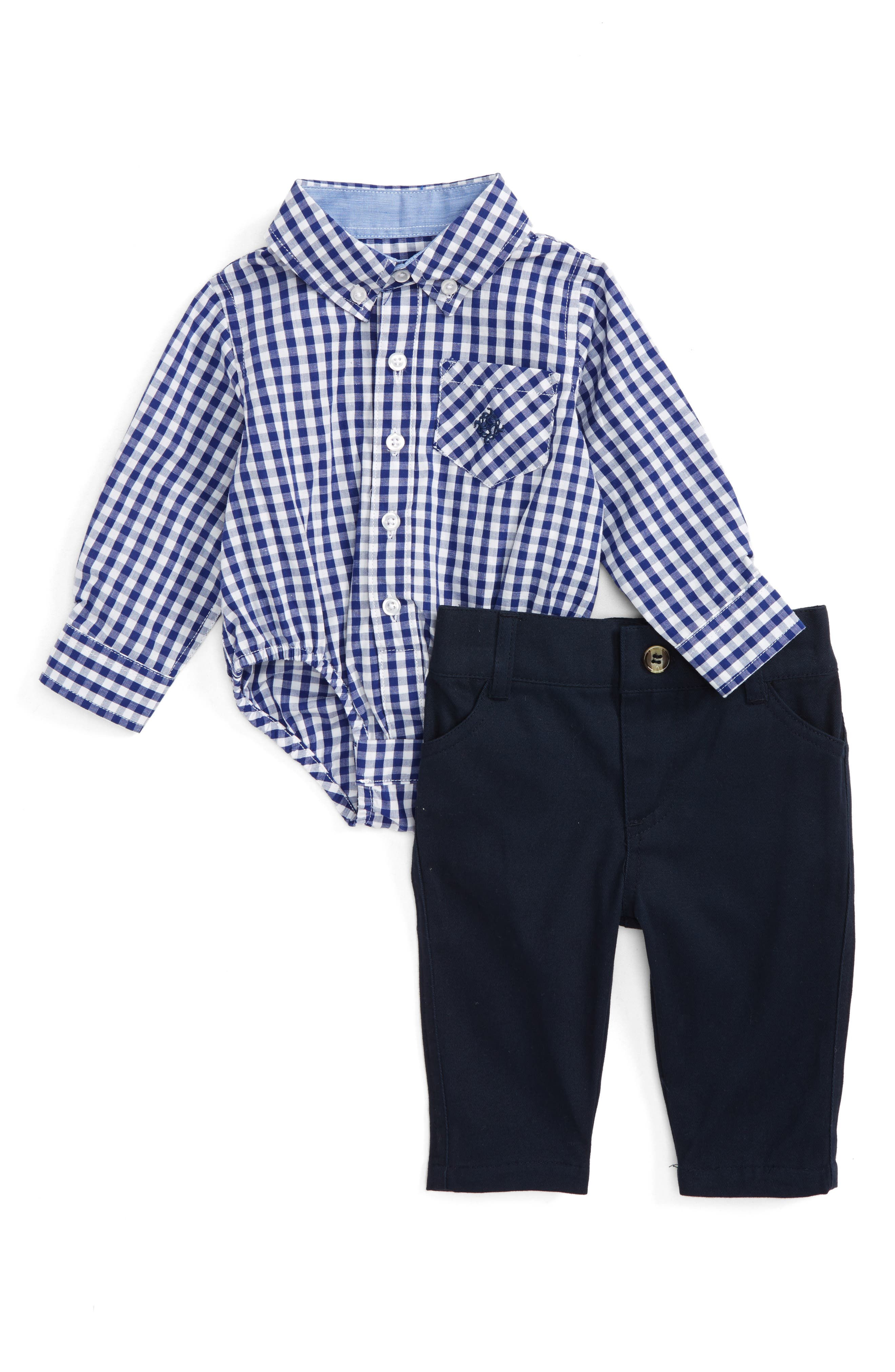 Shirtzie Gingham Bodysuit & Pants Set,                         Main,                         color, Navy