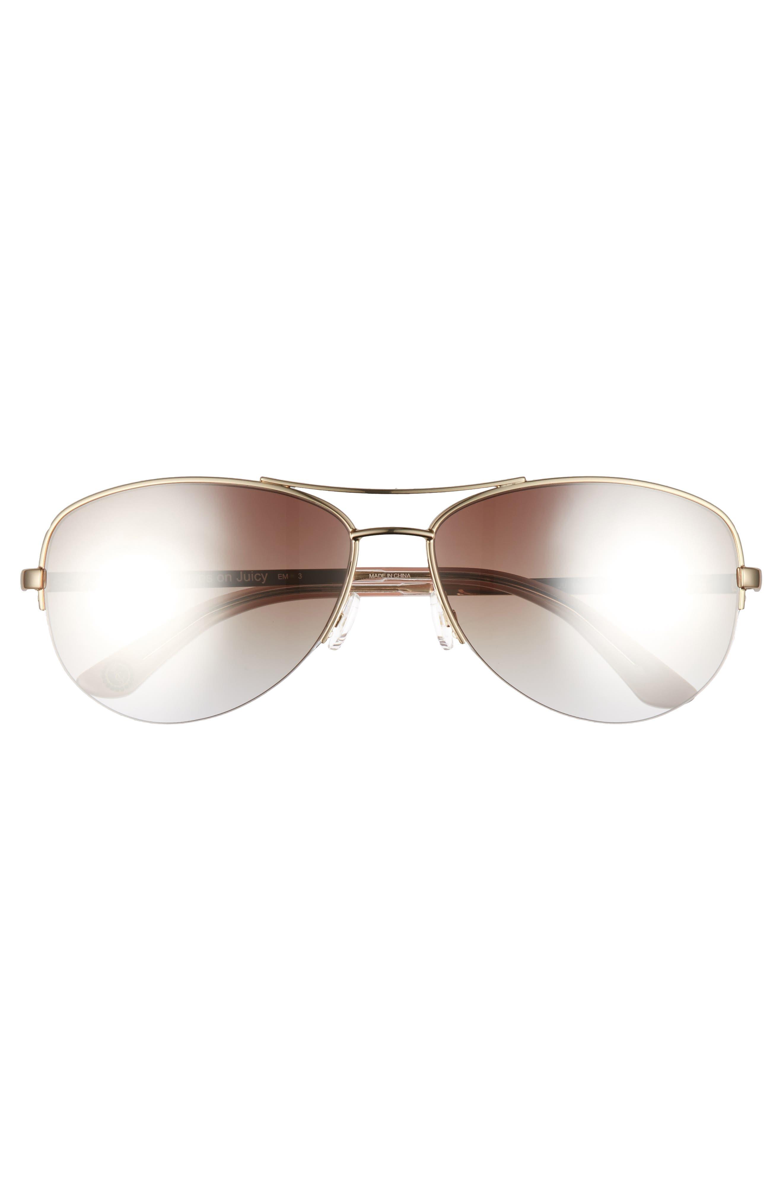 Black Label 60mm Gradient Aviator Sunglasses,                             Alternate thumbnail 3, color,                             Light Gold