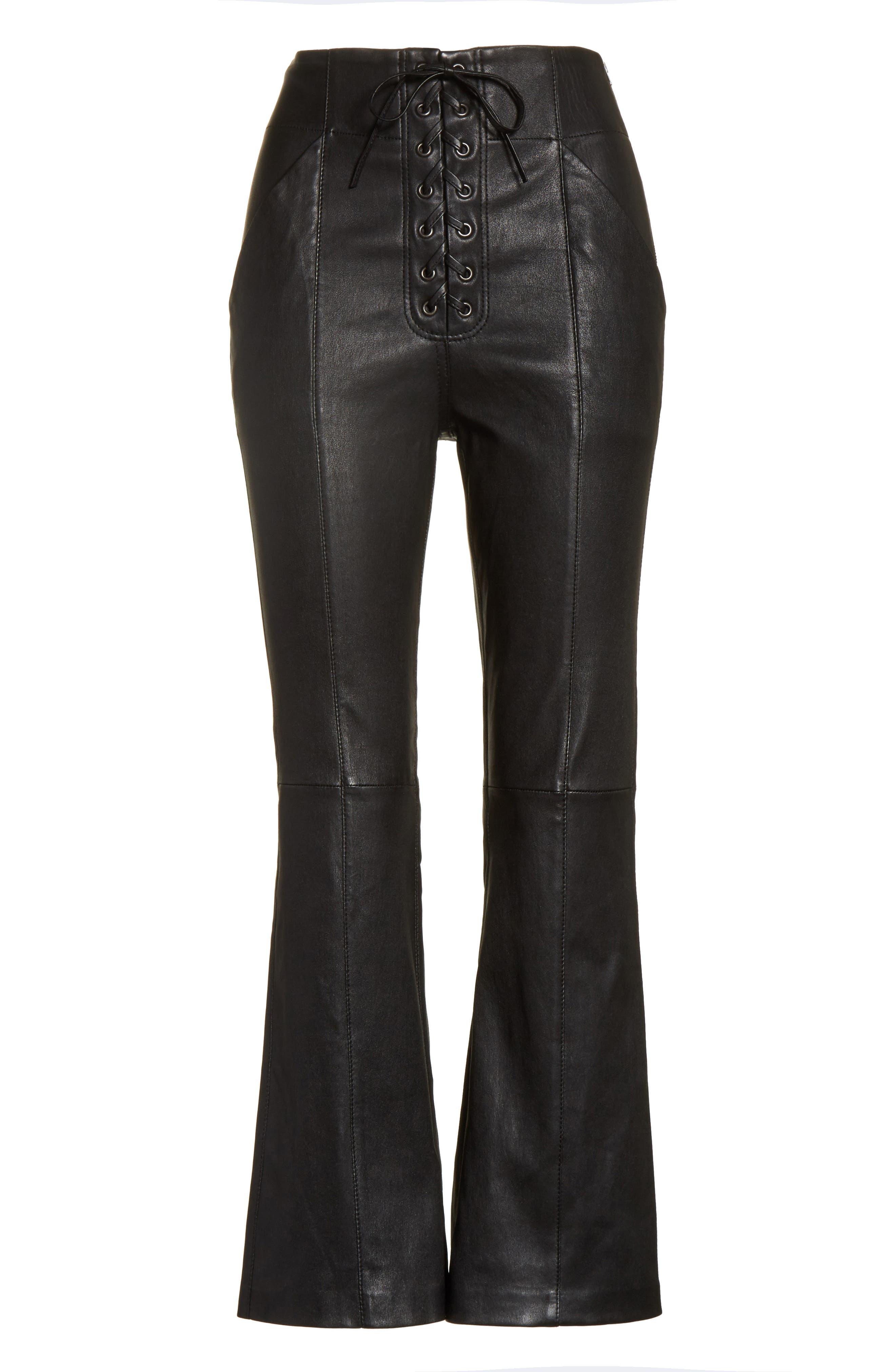 Delia Lace Up Leather Pants,                             Alternate thumbnail 6, color,                             Black