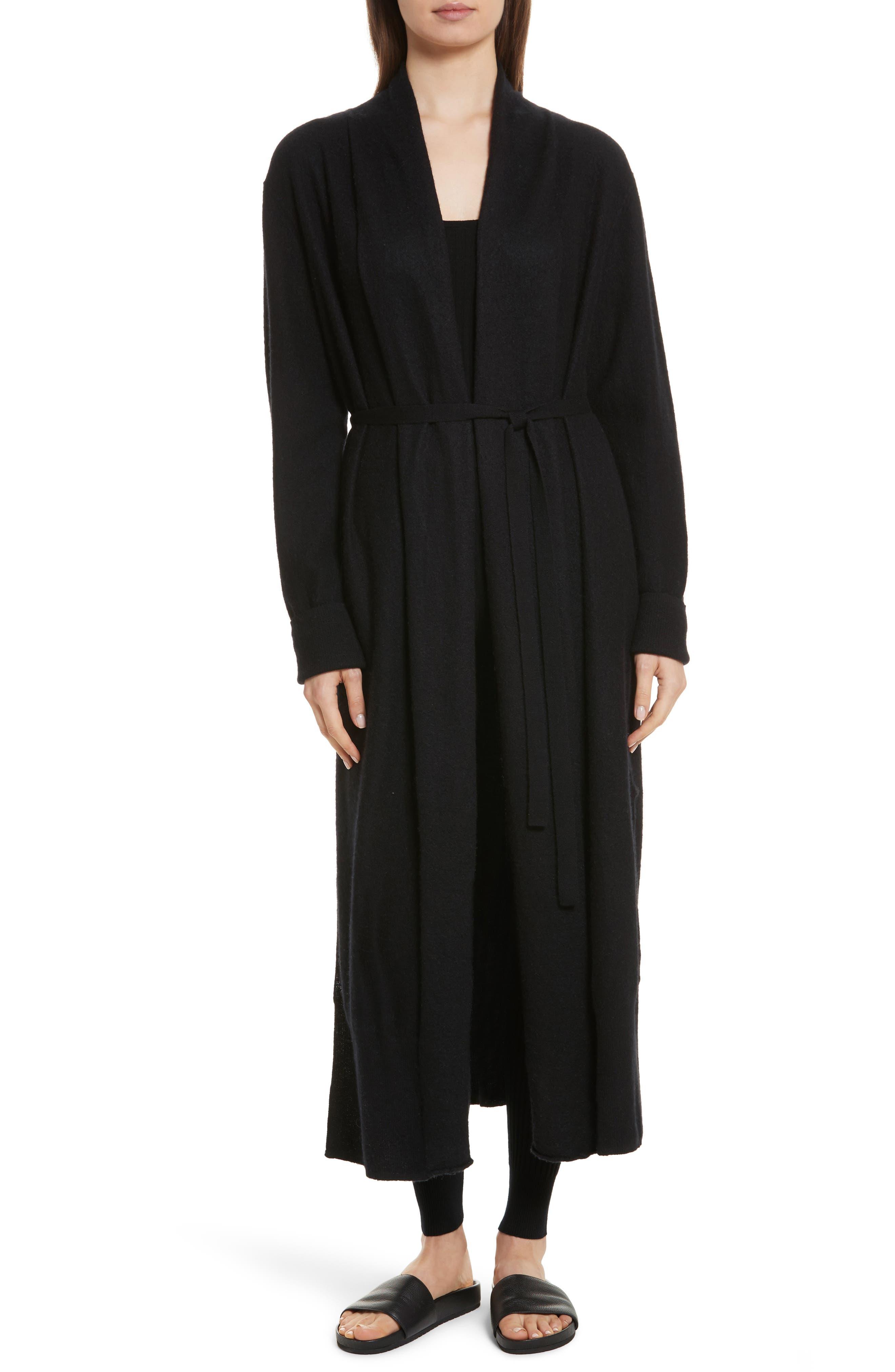 Side Slit Long Cardigan,                         Main,                         color, Black