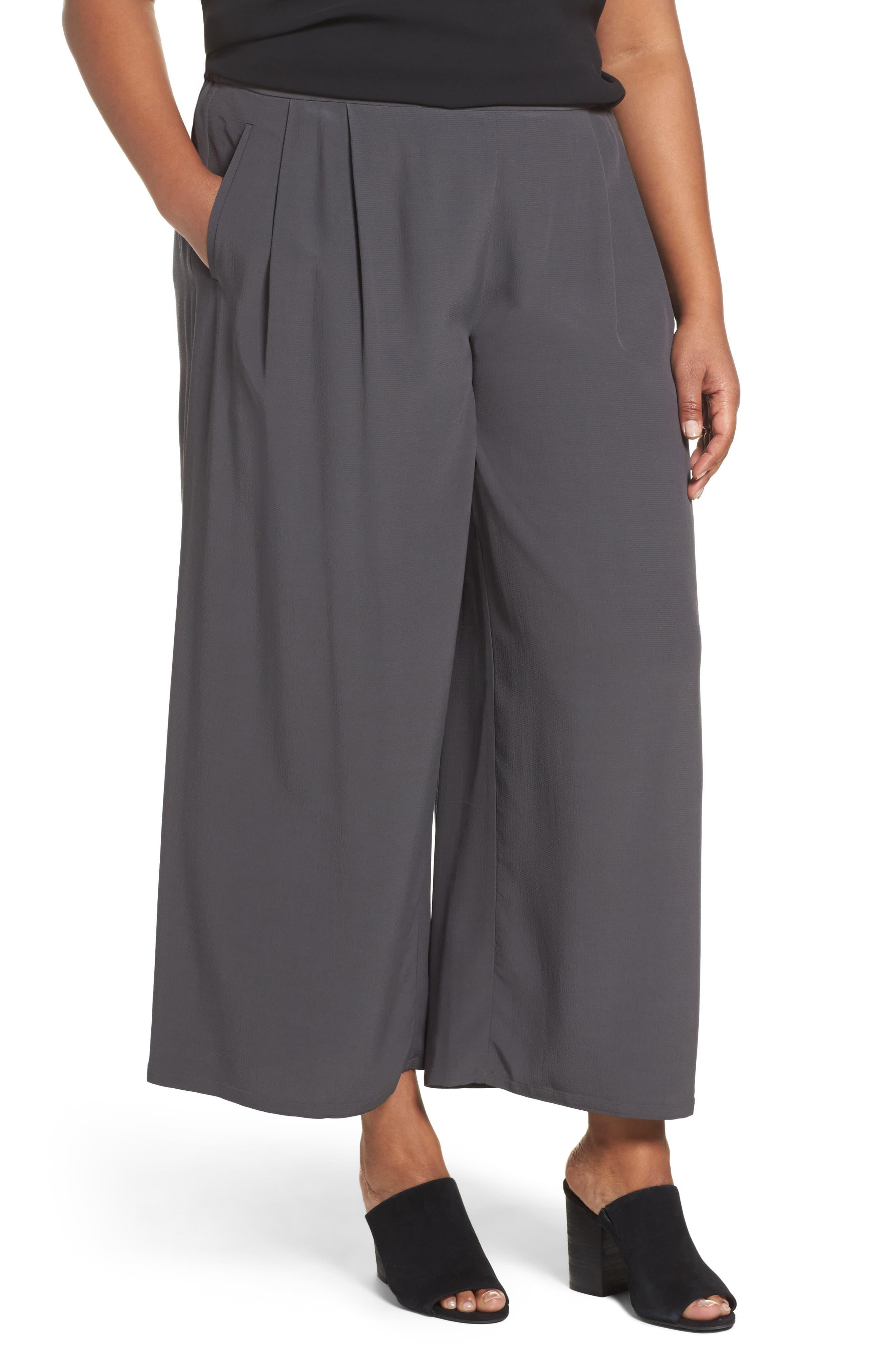 Wide Leg Pants,                         Main,                         color, Bark