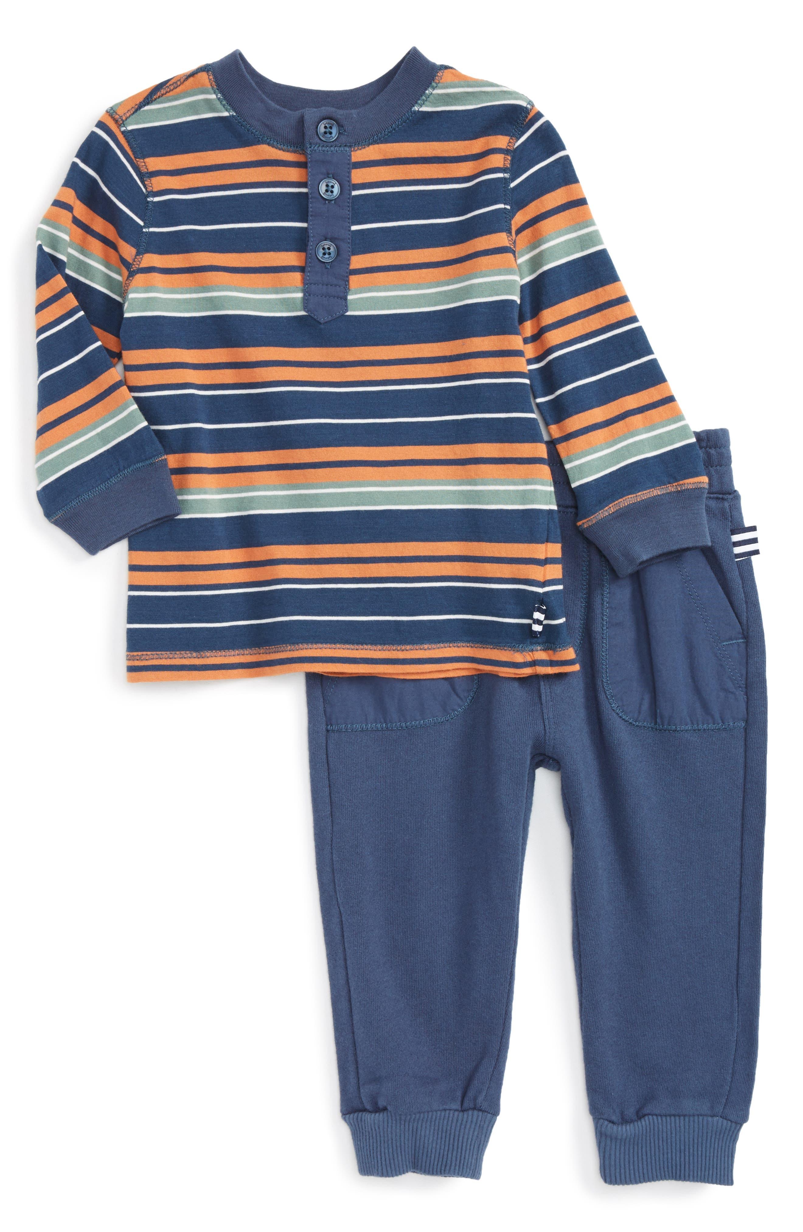 Alternate Image 1 Selected - Splendid Stripe Henley T-Shirt & Pants Set (Baby Boys)
