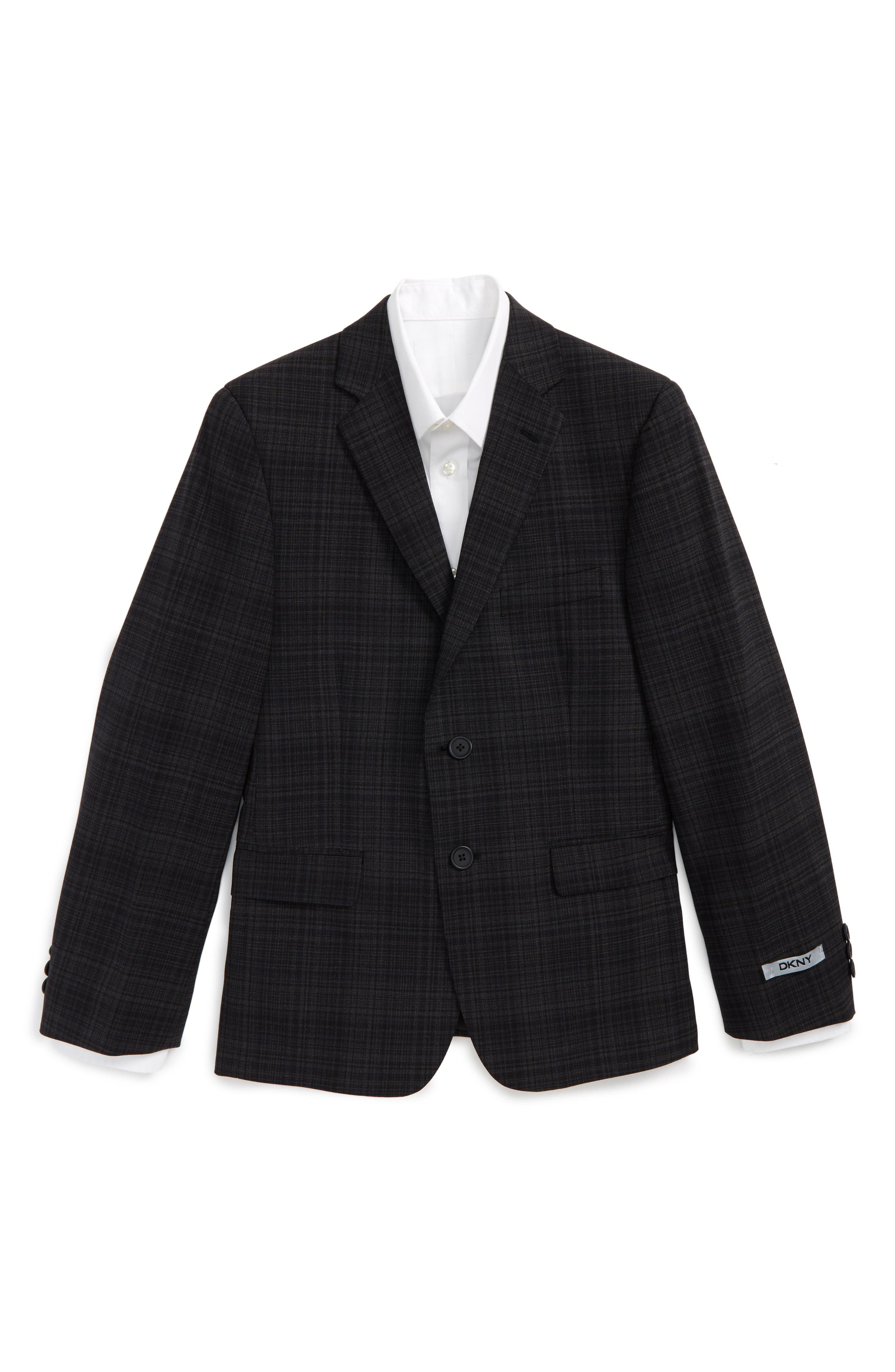 Alternate Image 1 Selected - DKNY Neat Plaid Sport Coat (Big Boys)