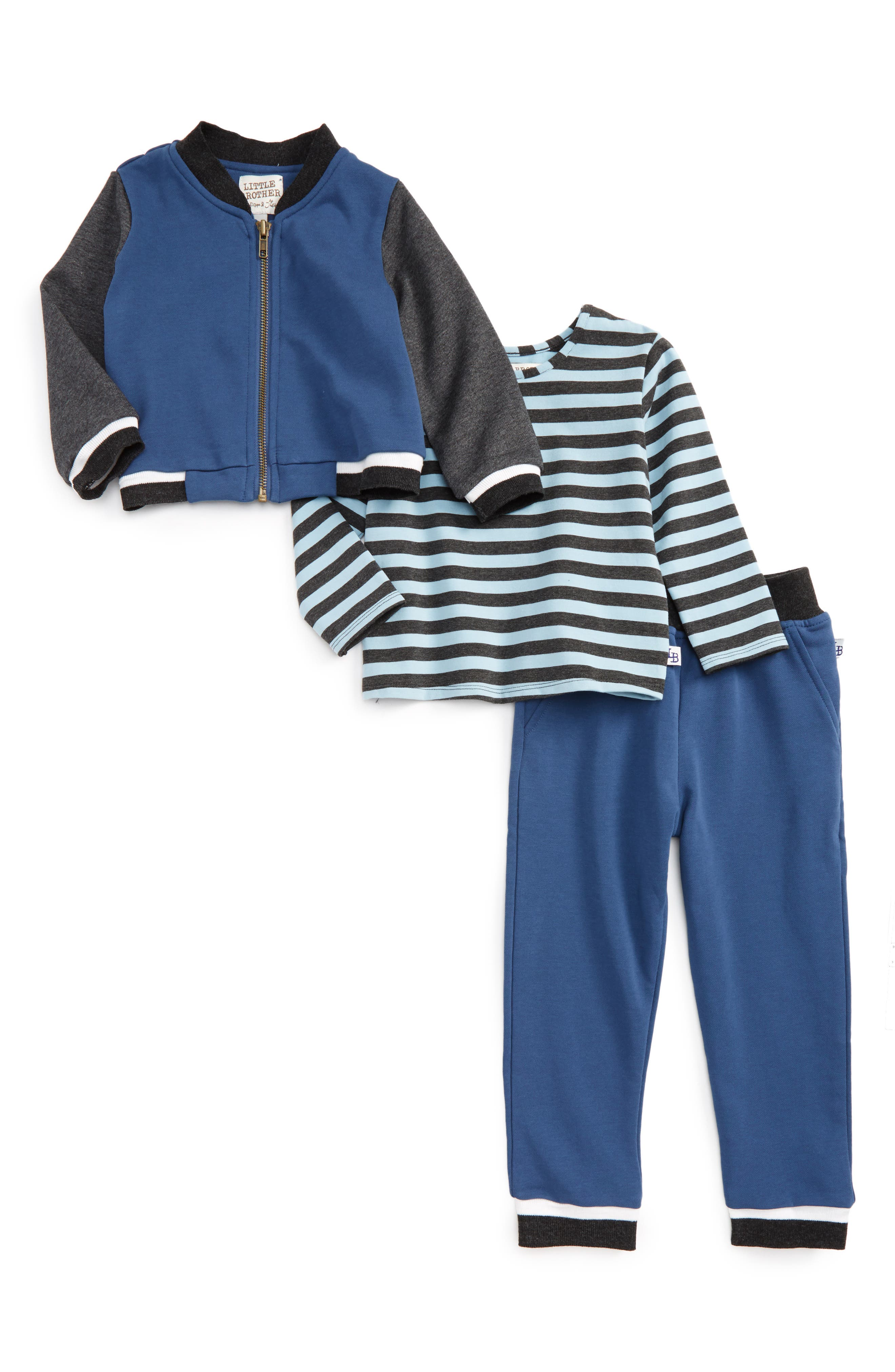 Main Image - Little Brother by Pippa & Julie Bomber Jacket, Top & Sweatpants Set (Toddler Boys)