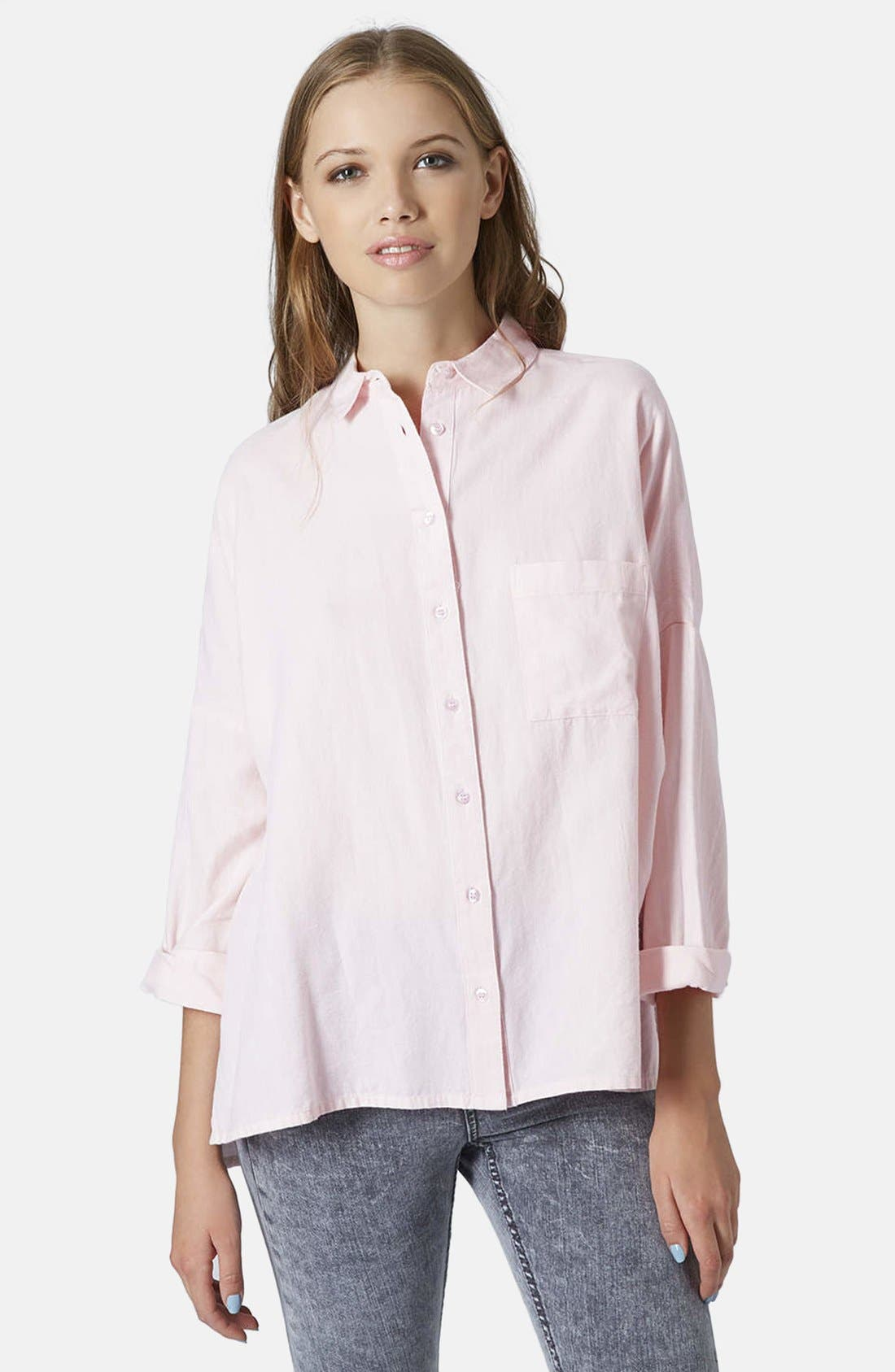 Oversized Chambray Shirt,                             Main thumbnail 1, color,                             Pink