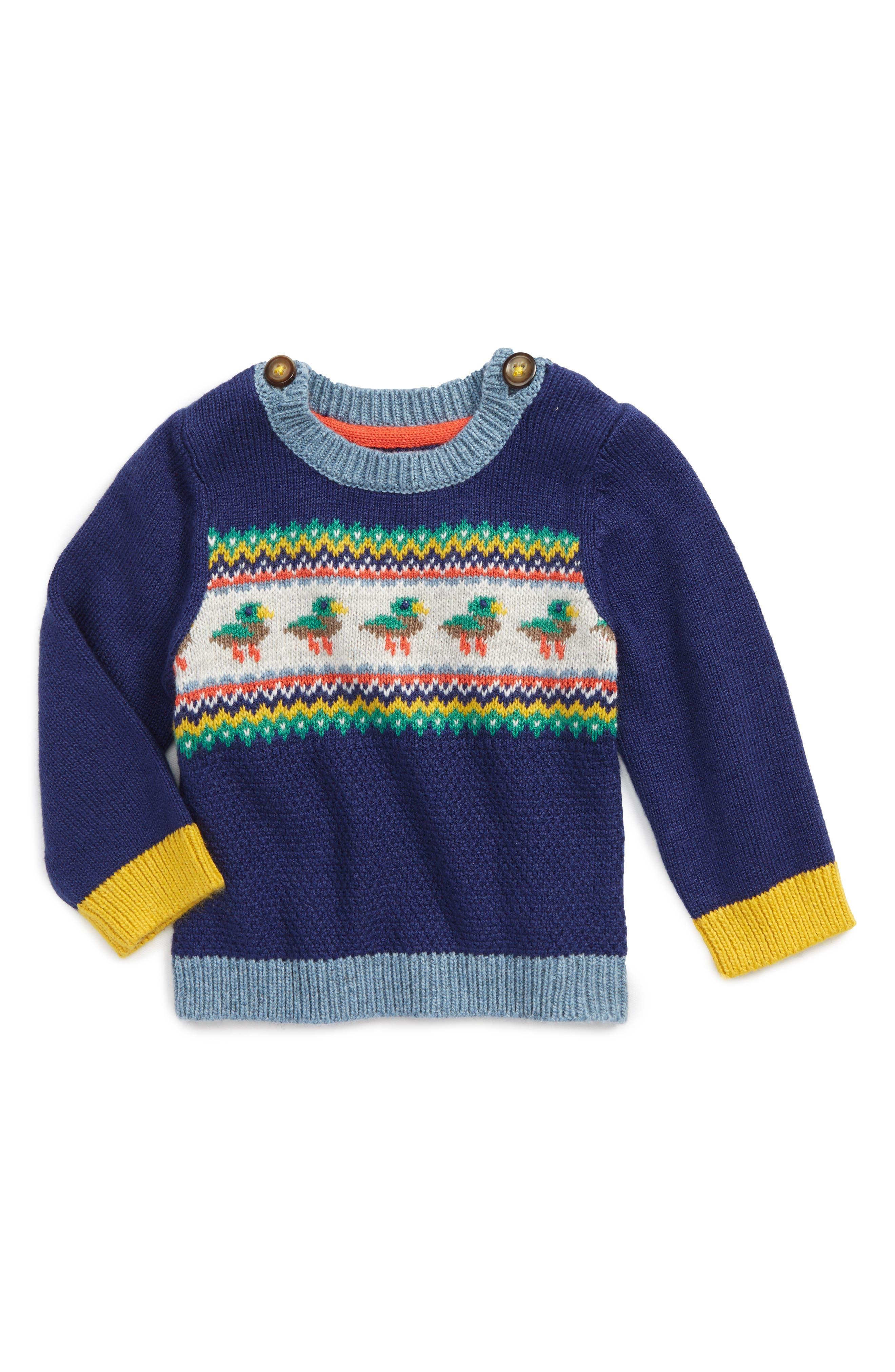 Fun Knit Sweater,                             Main thumbnail 1, color,                             Beacon Blue Ducks