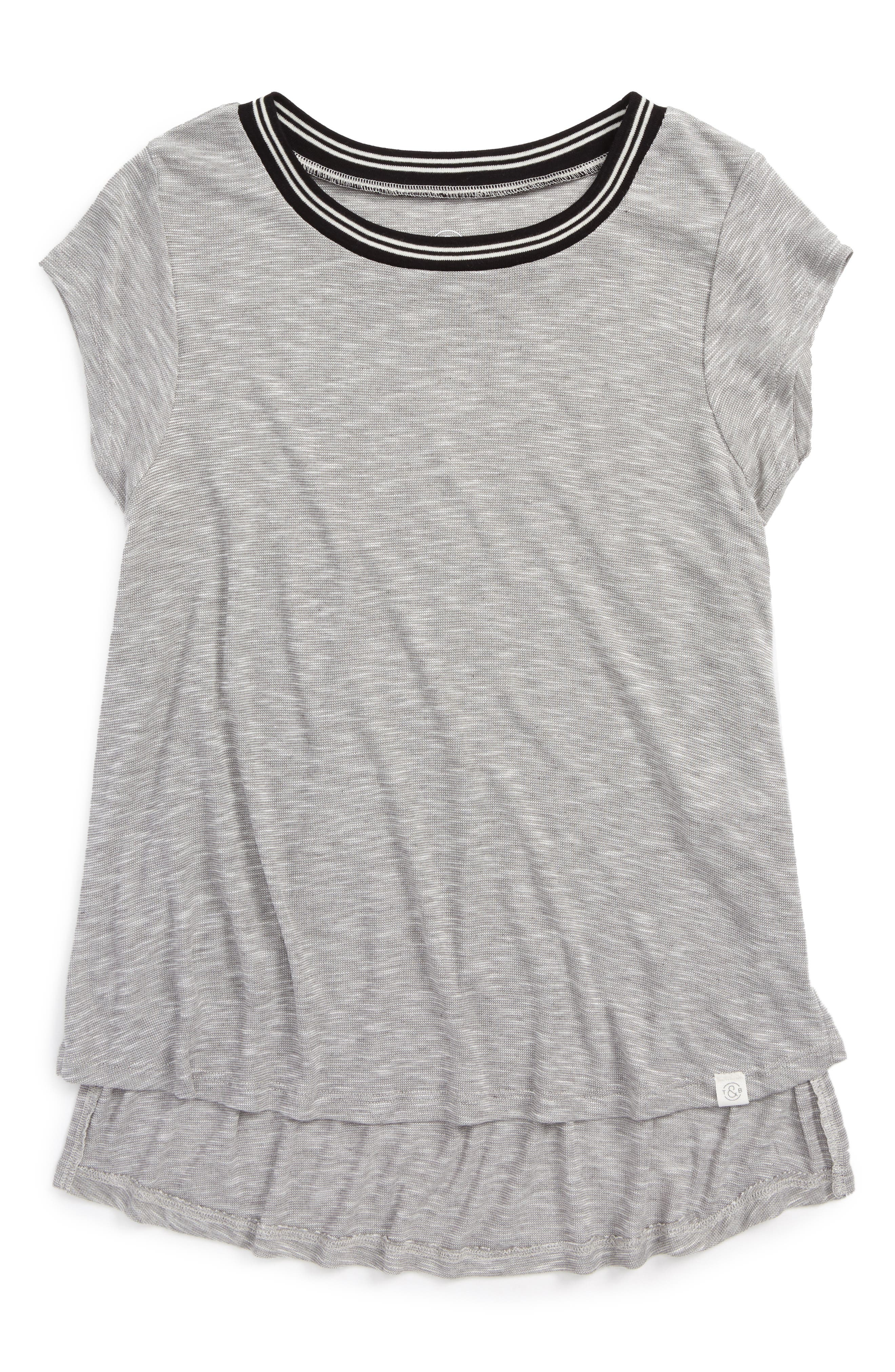 Treasure&Bond Sporty Side Slit Tee (Big Girls)