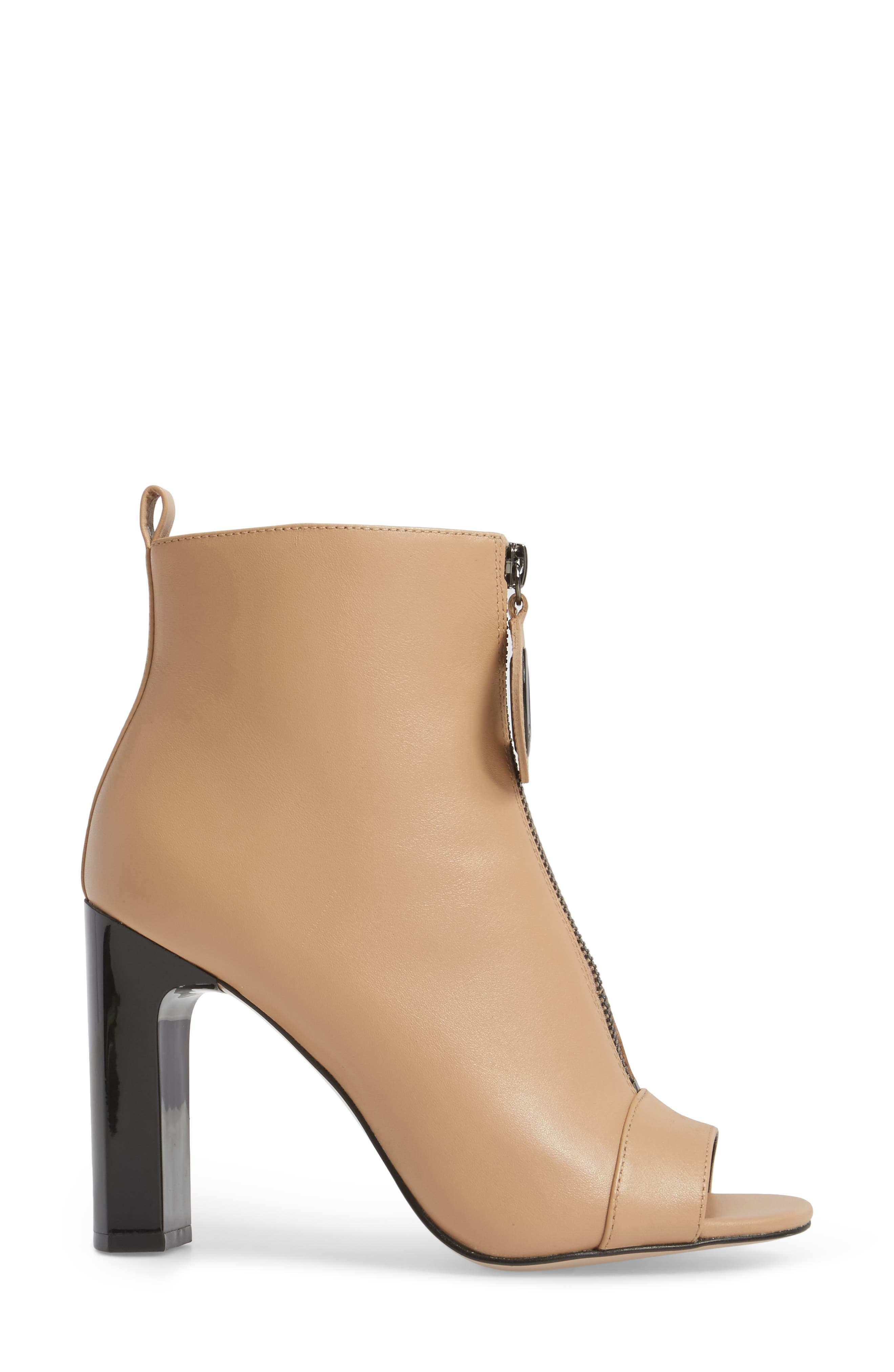 Minda Open Toe Bootie,                             Alternate thumbnail 3, color,                             Sandstrom Leather