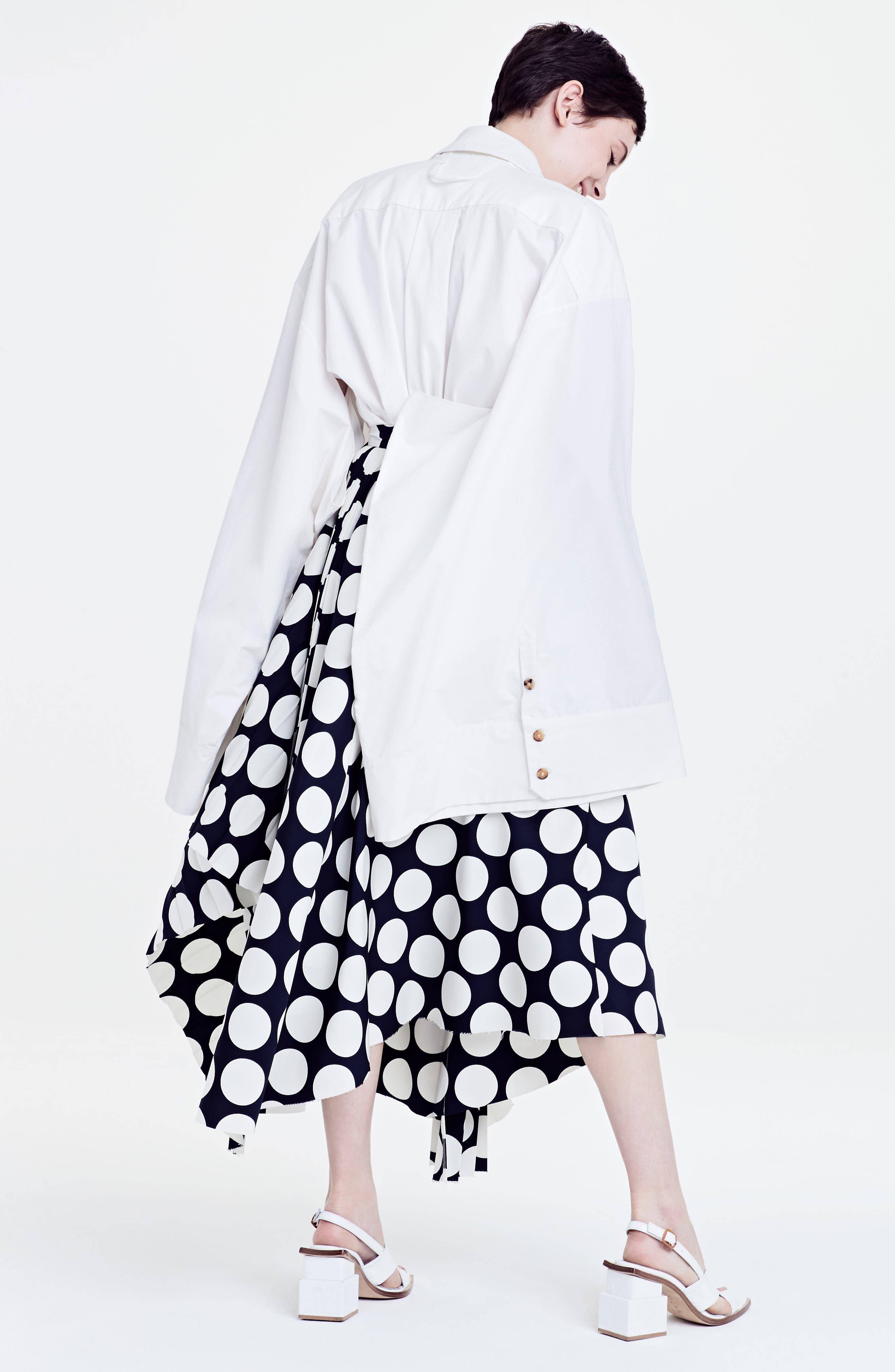 Giant Polka Dot Pleated Skirt,                             Alternate thumbnail 2, color,                             Navy/ Off-White