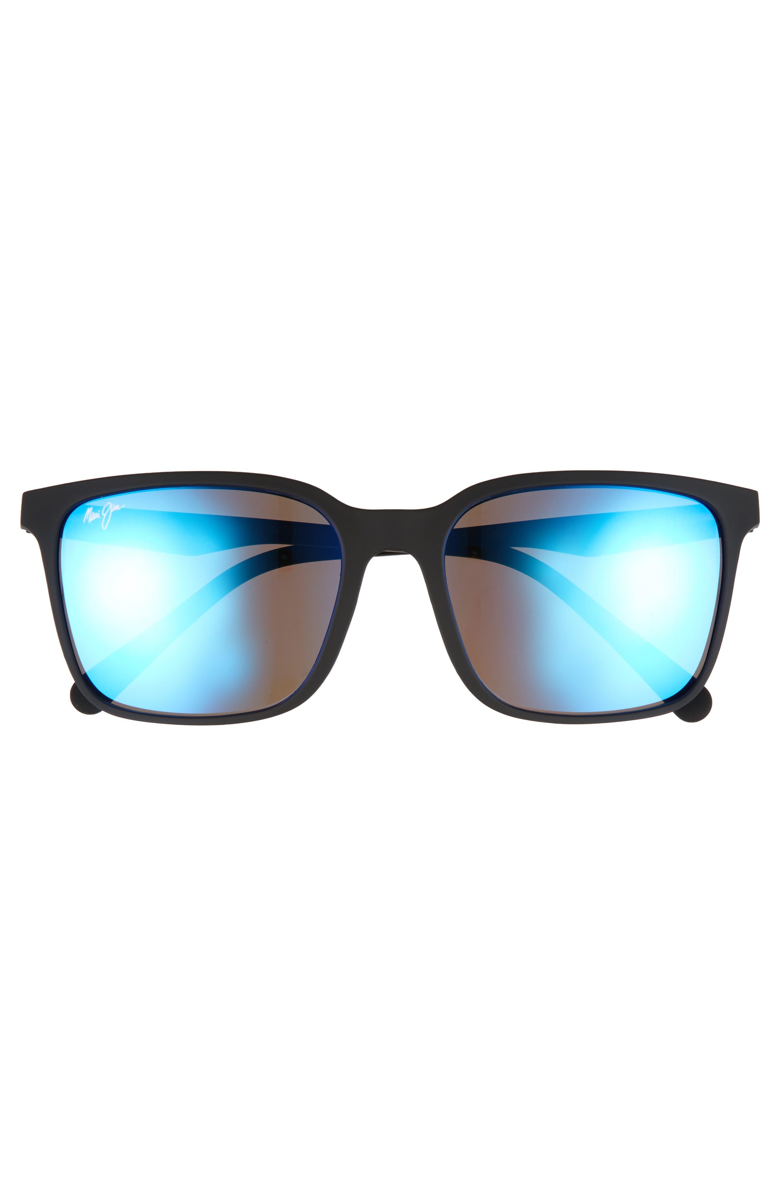Wild Coast 56mm Polarized Sunglasses,                             Alternate thumbnail 2, color,                             Matte Black/ Blue Hawaii