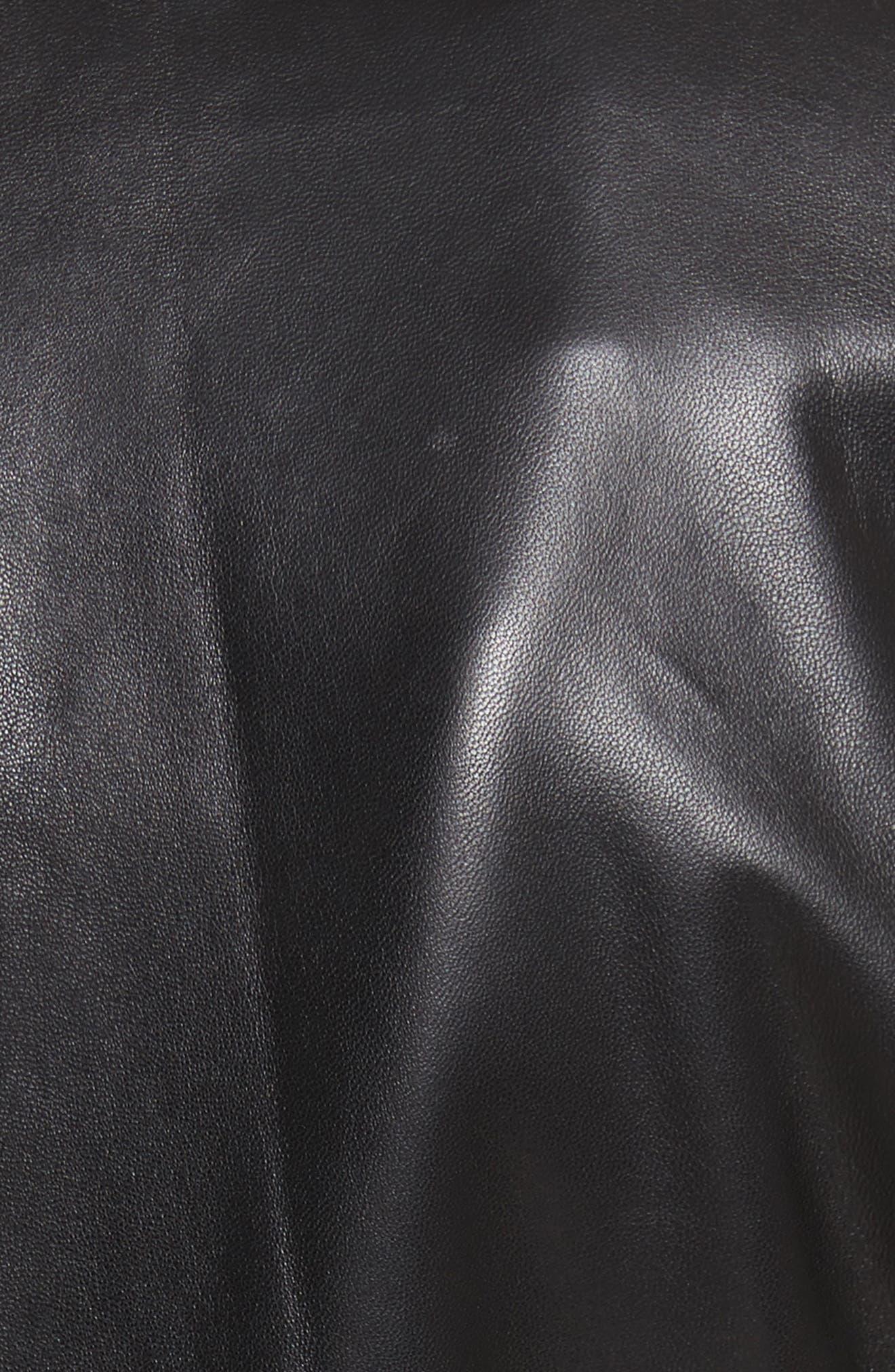 Cooke Leather Jacket,                             Alternate thumbnail 5, color,                             Black