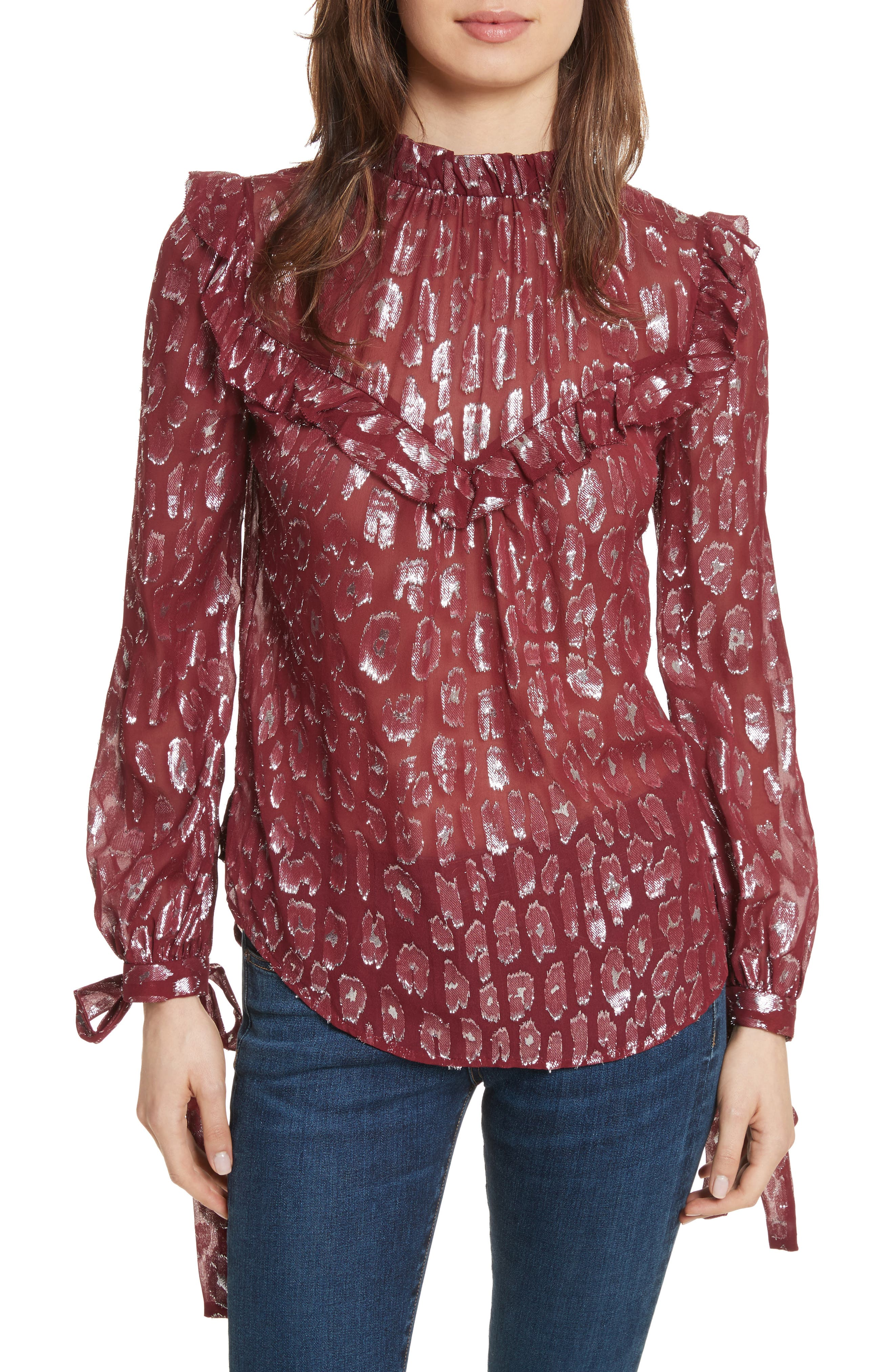 Brooks Metallic Silk Blouse,                         Main,                         color, Red/ Silver