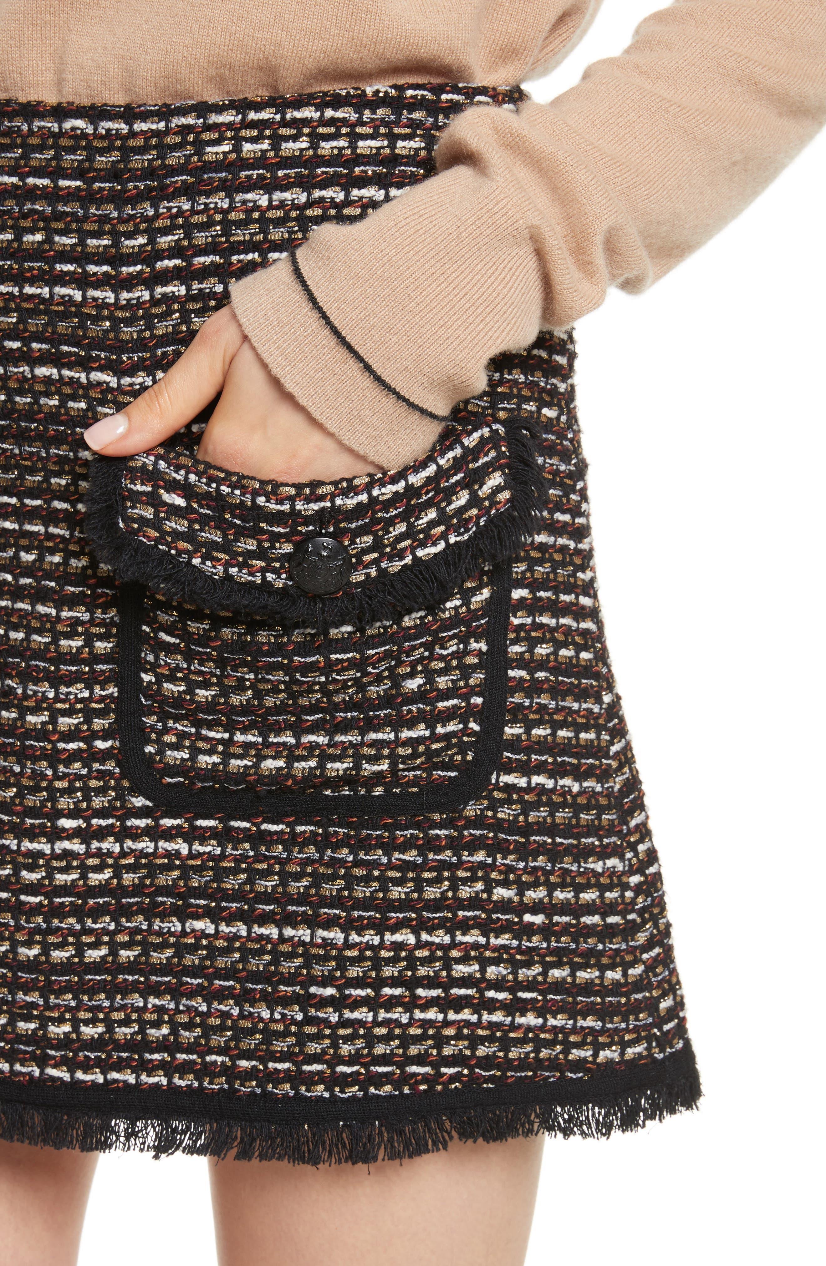 Margot Skirt,                             Alternate thumbnail 4, color,                             Black/ White/ Gold
