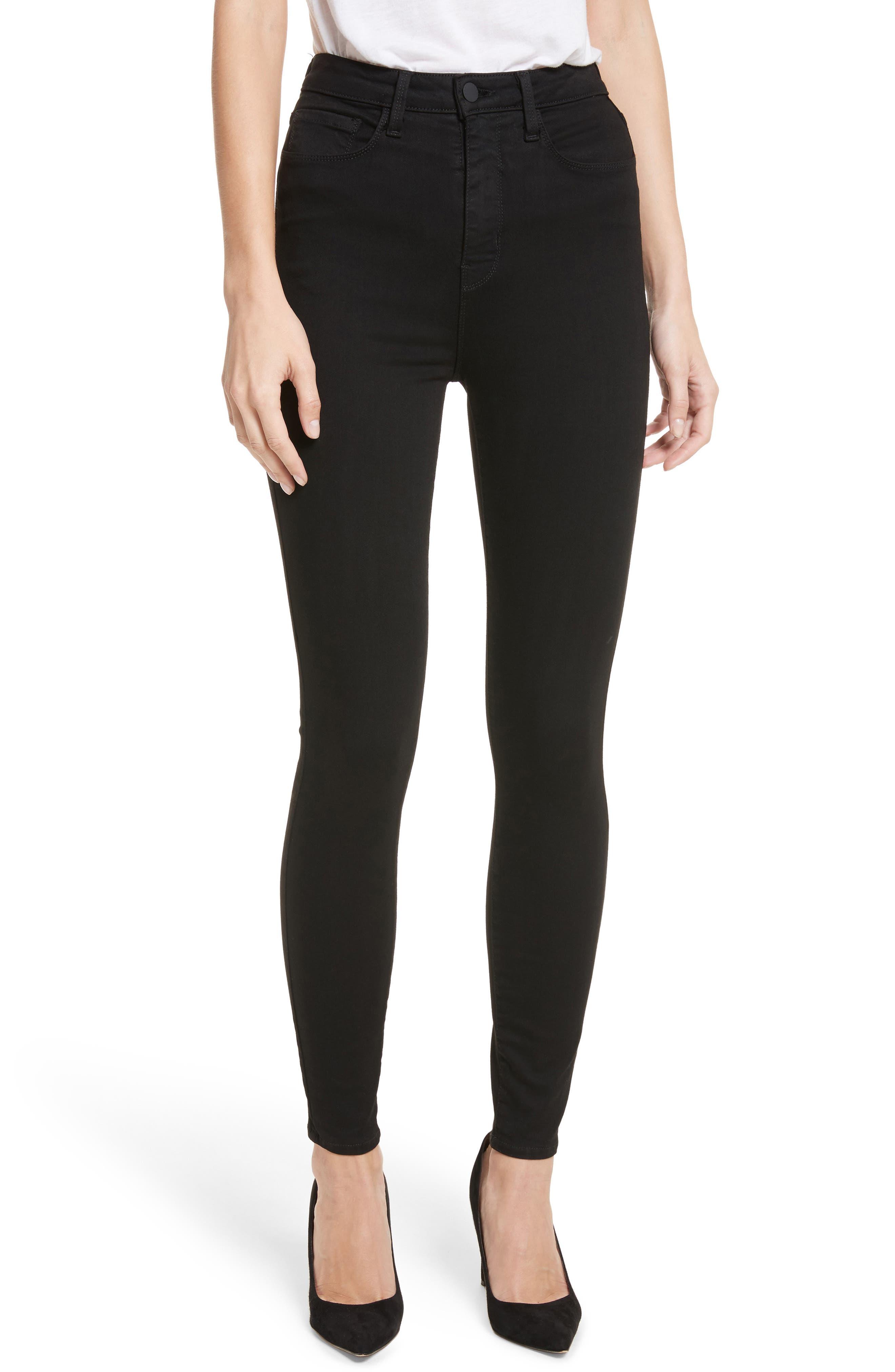 Katrina Ultra High Waist Skinny Jeans,                             Main thumbnail 1, color,                             Noir