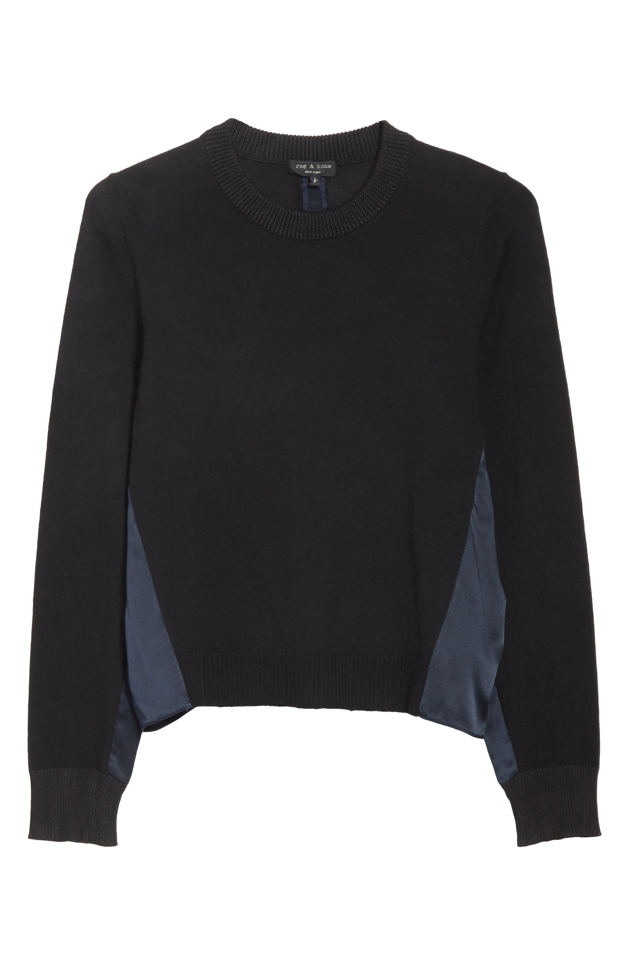 Sadie Merino Wool Blend & Silk Sweater,                             Alternate thumbnail 7, color,                             Black