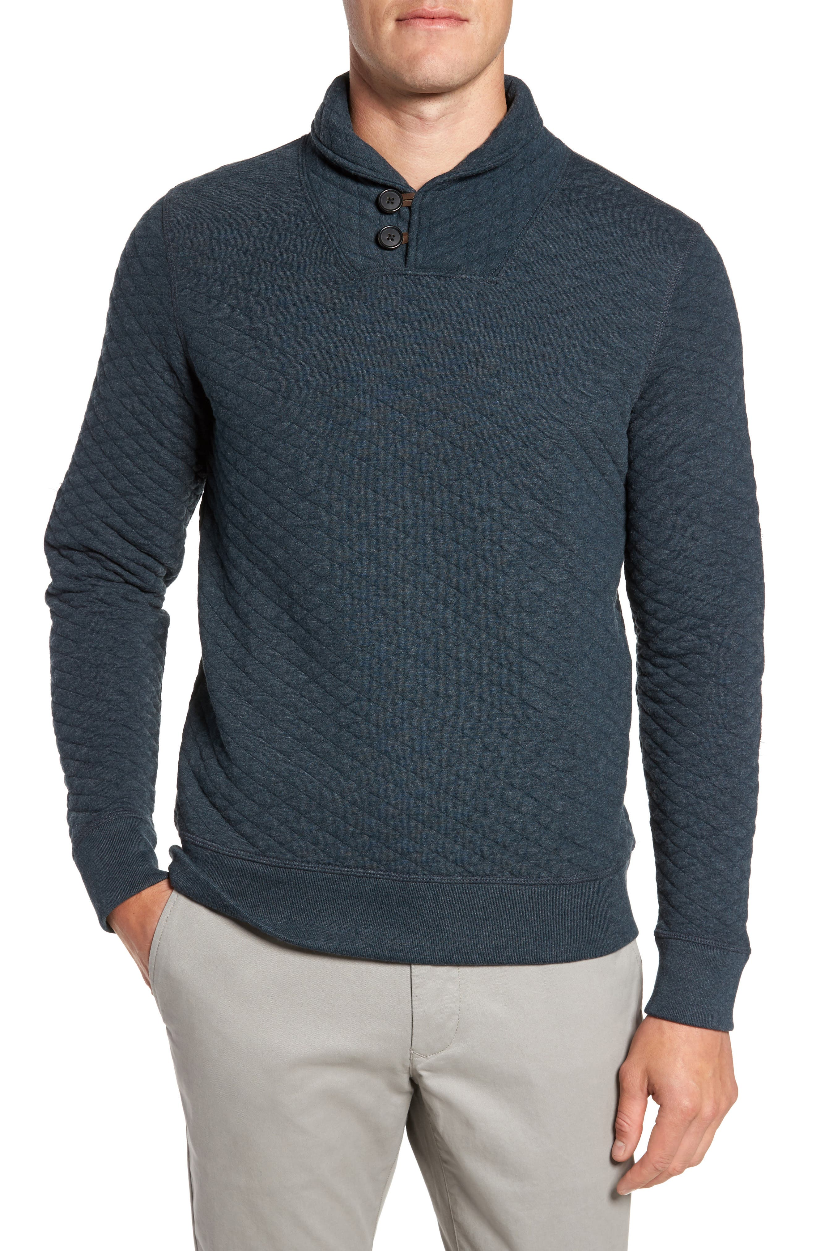 Shawl Collar Pullover,                         Main,                         color, Carbon Blue